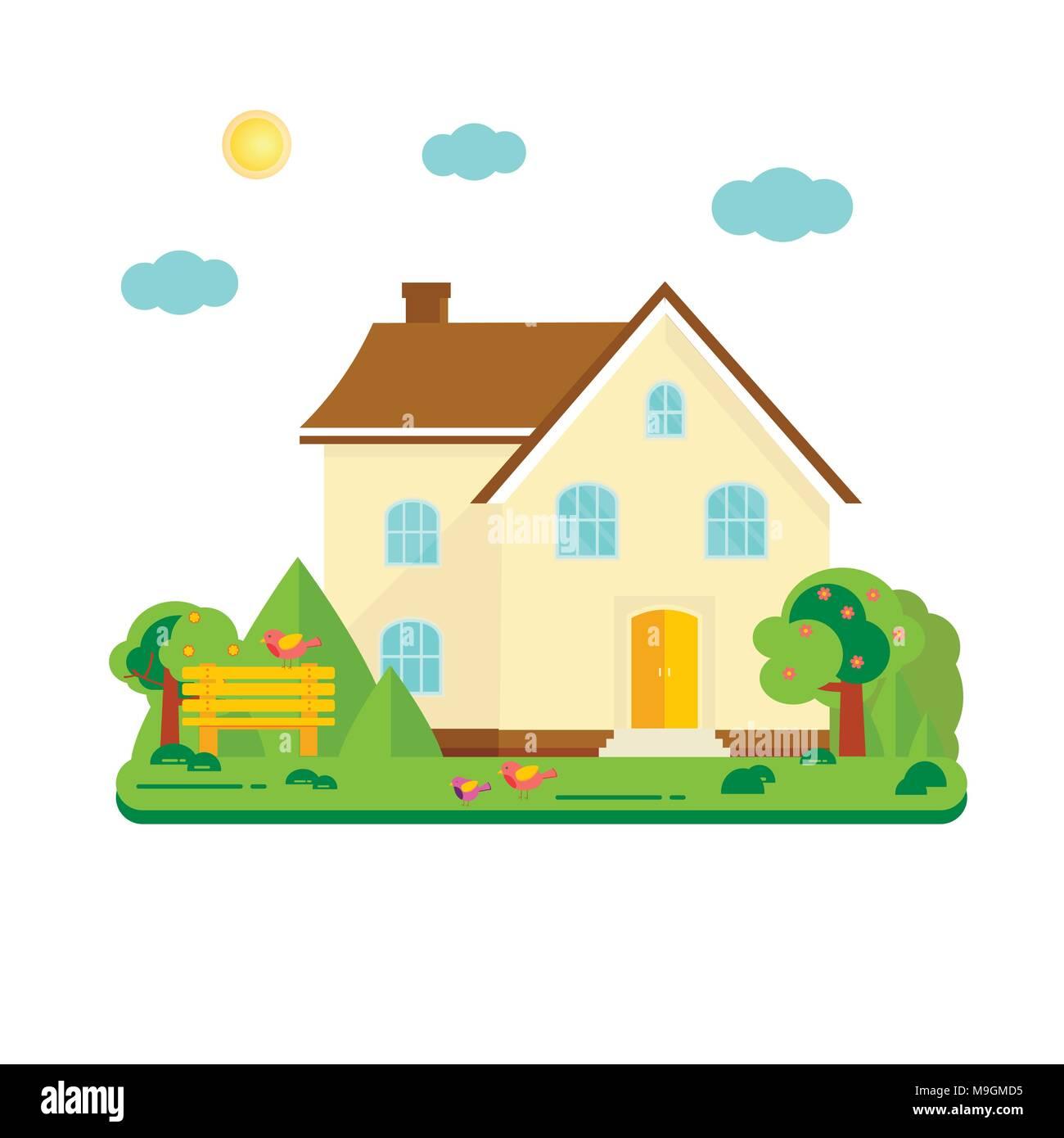 Resumen Antecedentes de primavera con acogedora casa, casa, casa ...