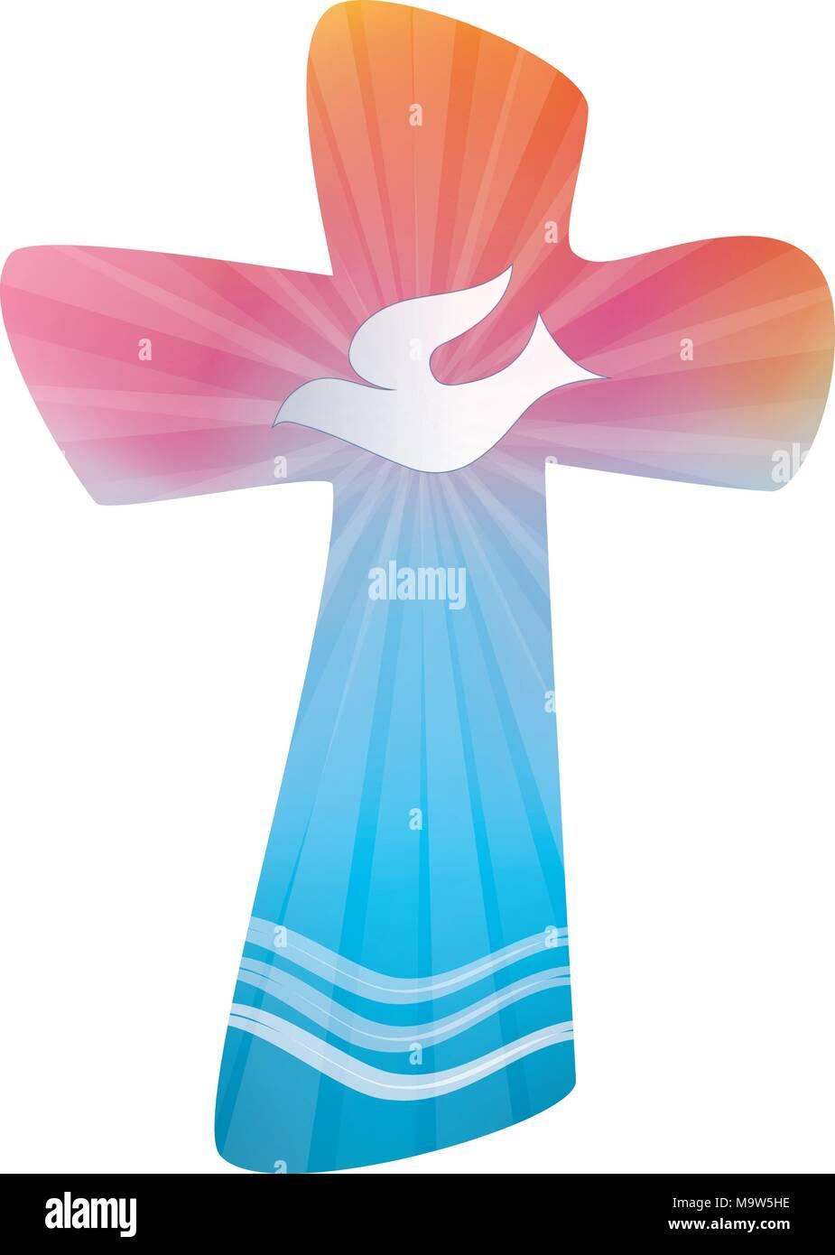 Cruz cristiana aislada con la paloma. Símbolo de Espíritu Santo ...