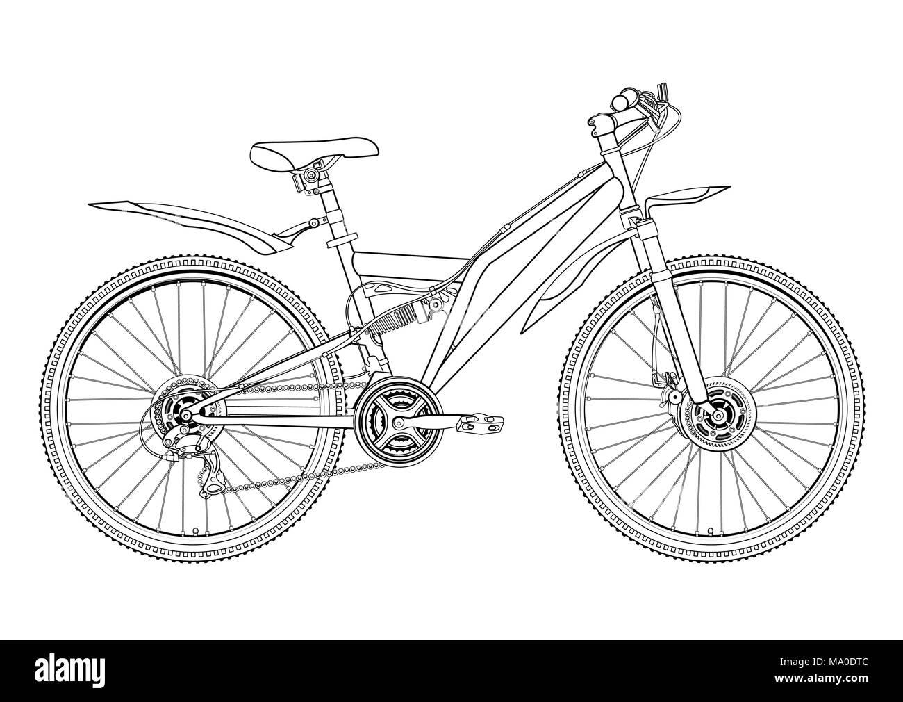 Bicicleta Contorno Vectorial Dibujo Monocromo Blanco Y Negro