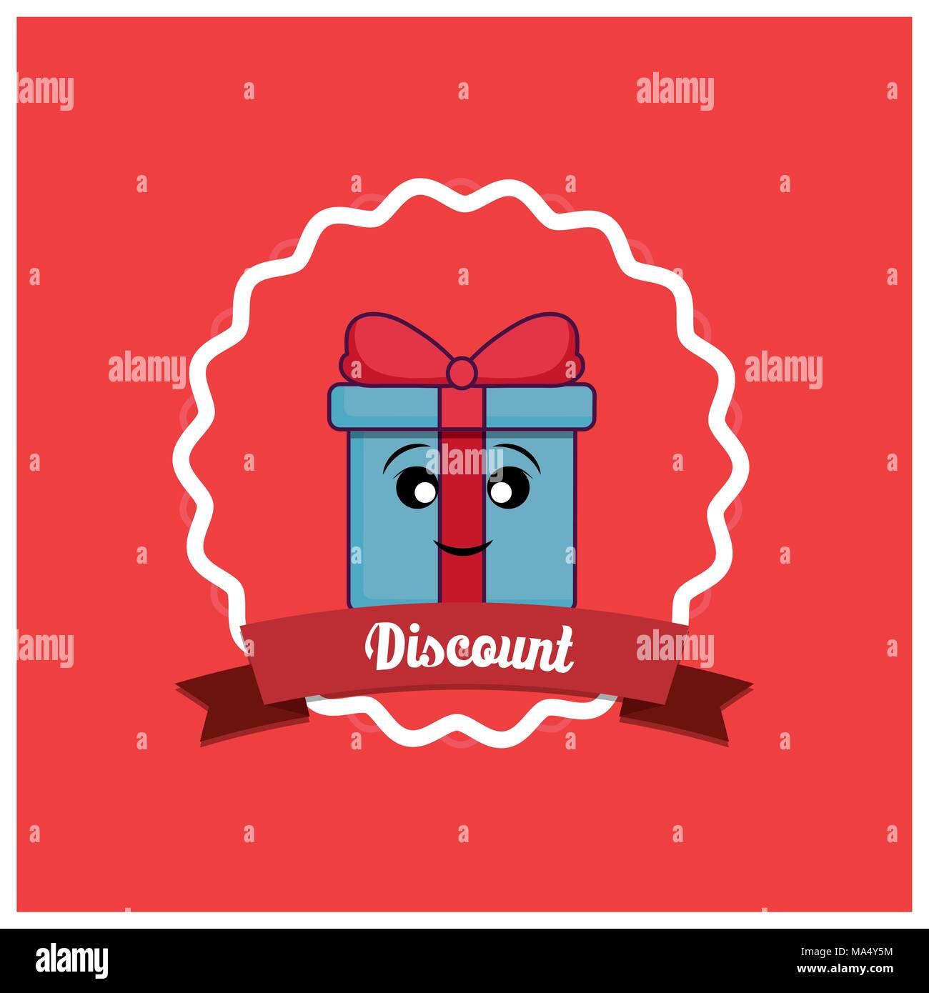 Descuento con caja de regalo de diseño kawaii sobre marco decorativo ...