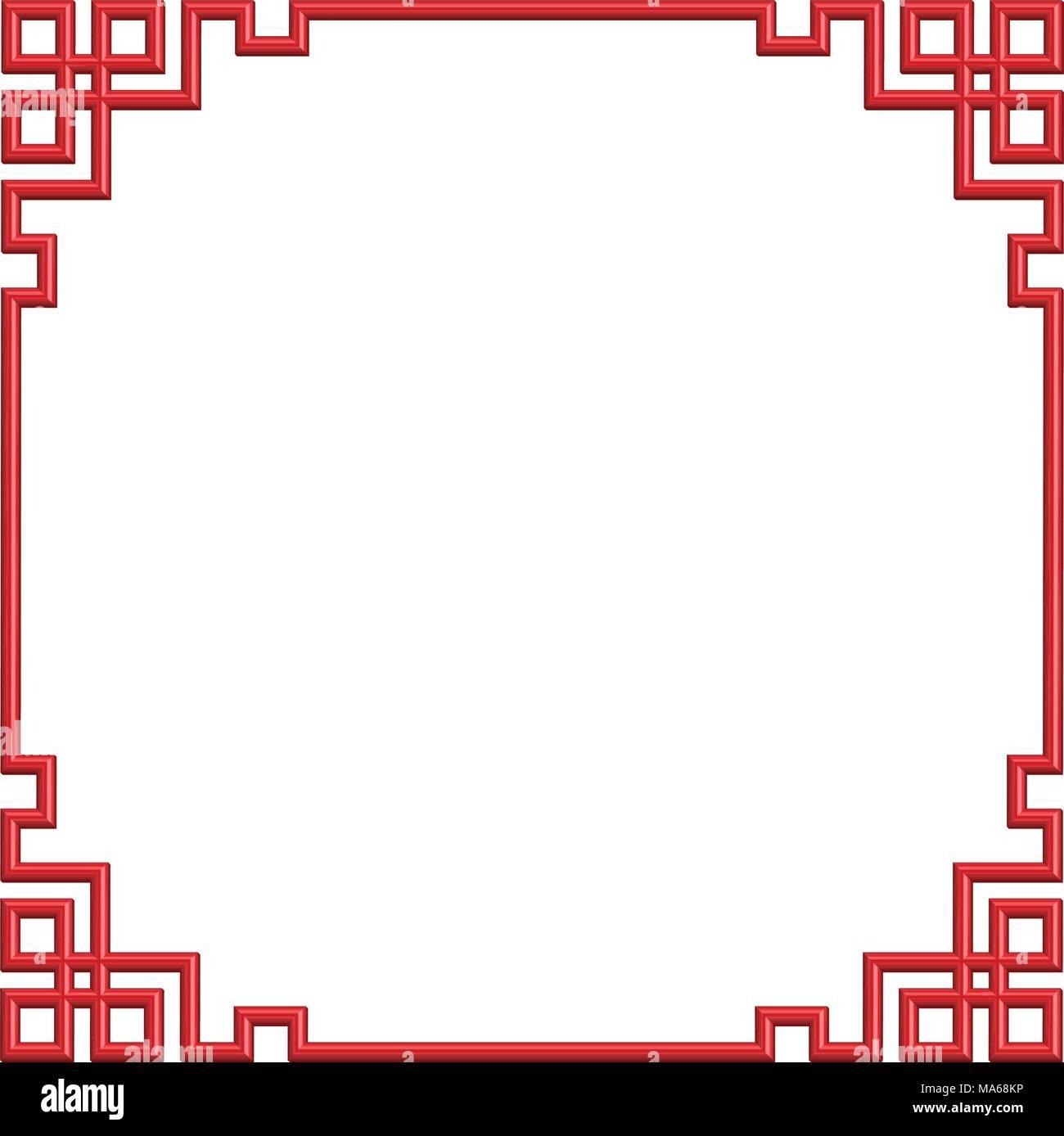 3D patrón china roja marco de borde, ilustración Ilustración del ...