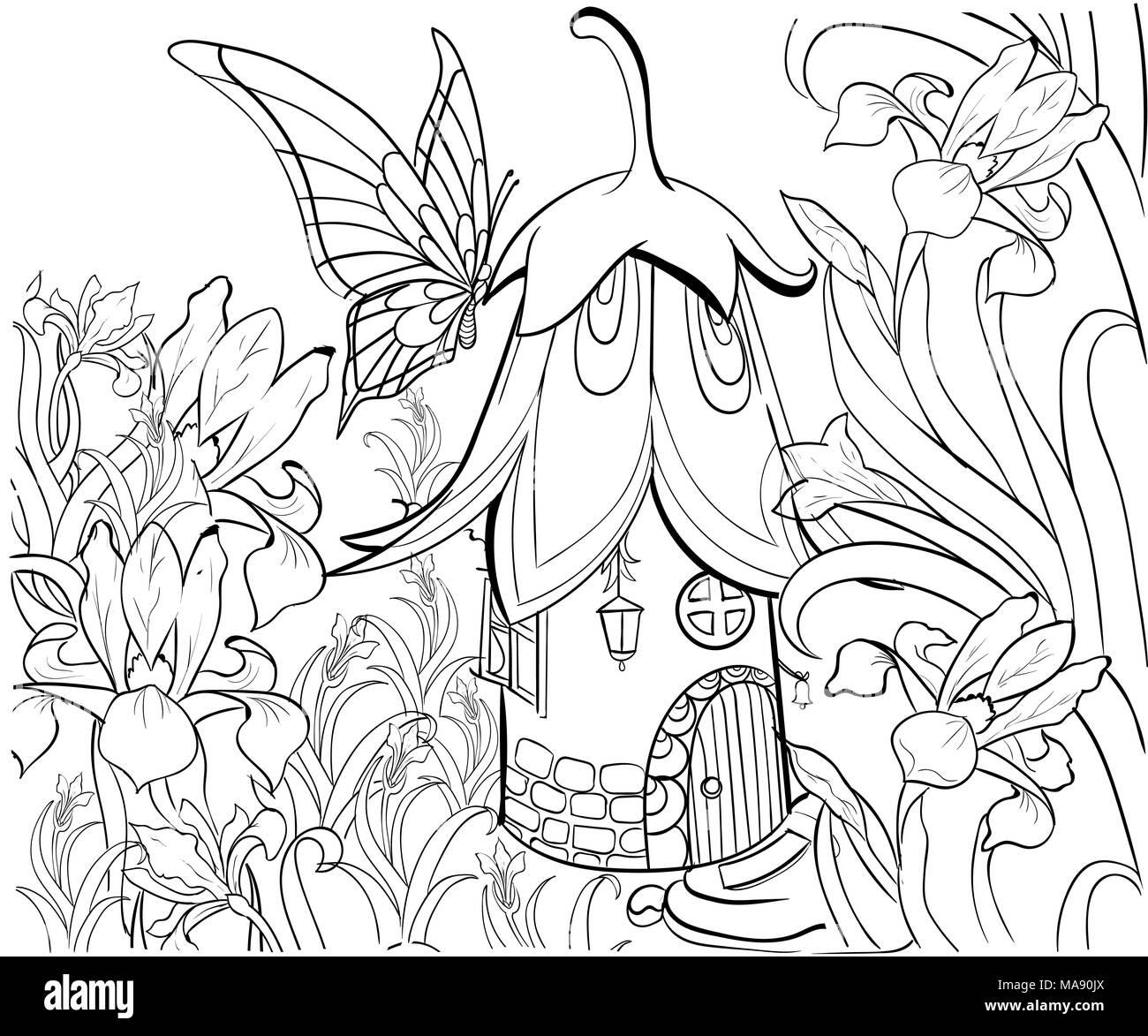 Casa de hadas para colorear. Elementos florales, mariposas y flores ...