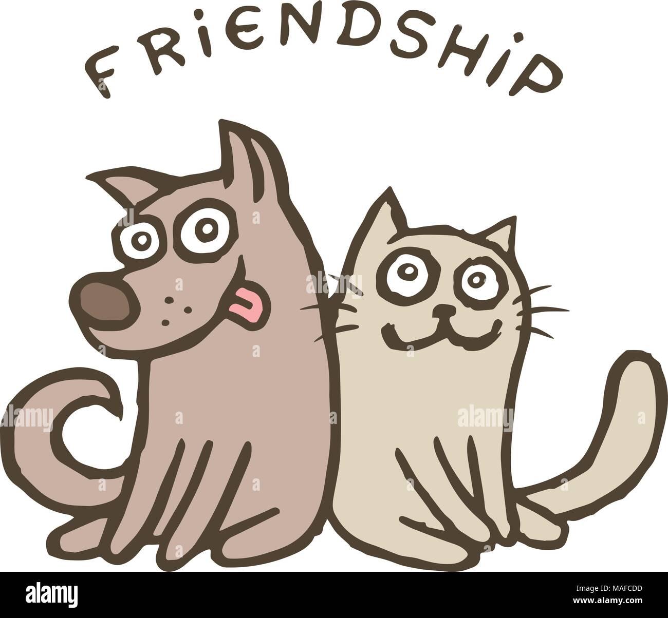 Amistad Perro Y Gato Mejores Amigos Ilustración Vectorial Juntos