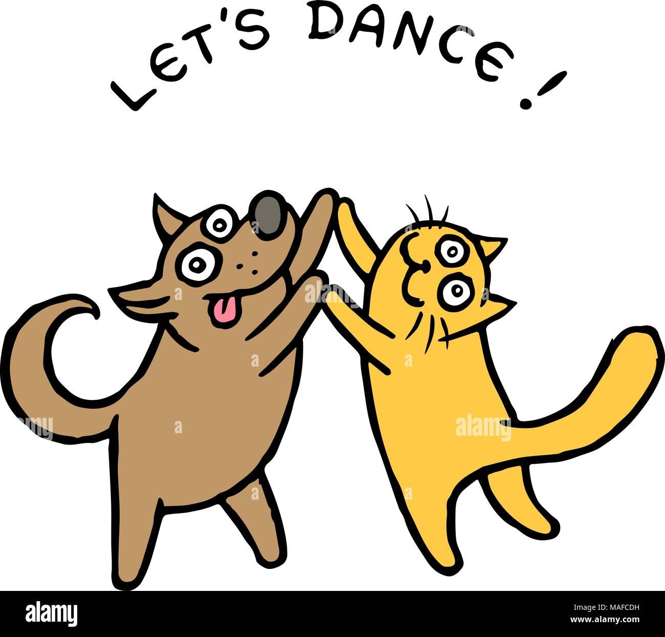 Kik Lindo Perro Y Gato Tik Bailarines Ilustración Vectorial