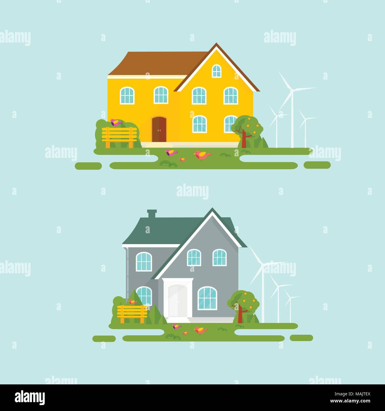 Resumen Antecedentes de primavera con acogedora casa, casa, chalet ...
