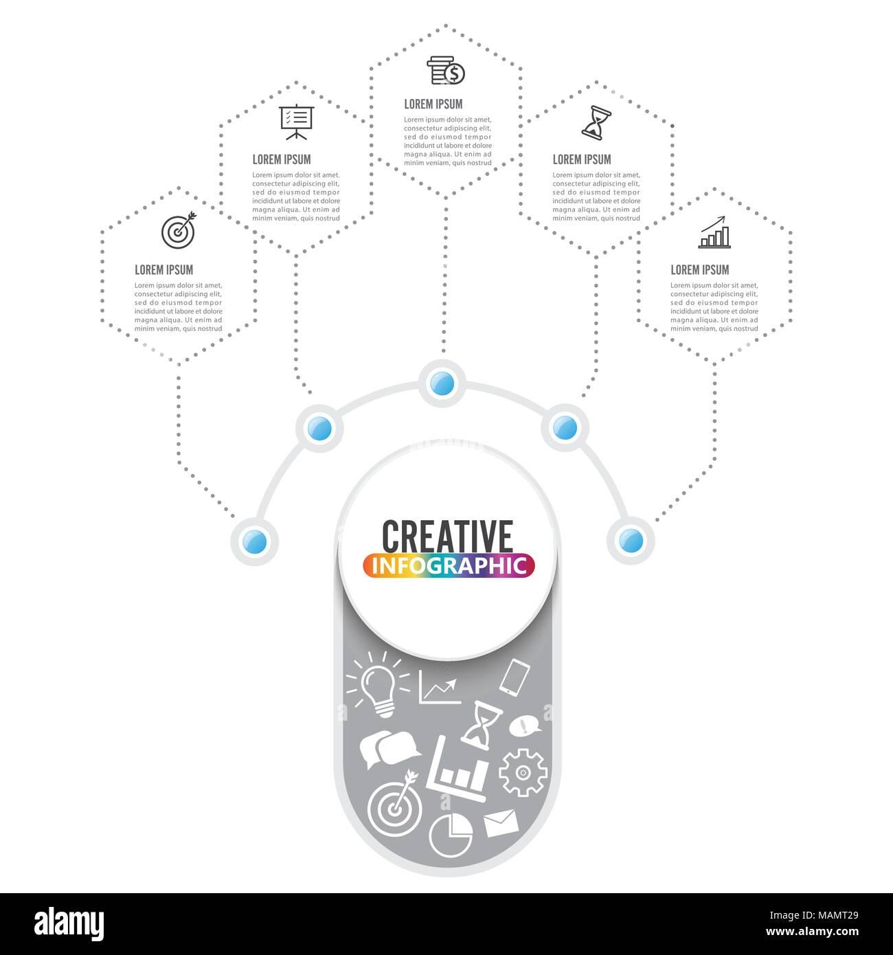 Plantilla infográficos vectoriales con 3D integrado, círculos de ...