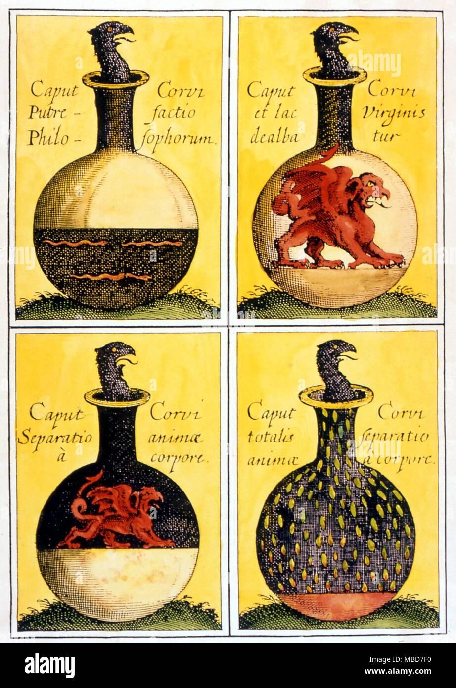 Alquimia - Jefe de The Crow - Cuatro placas alquímico simbólico que ...