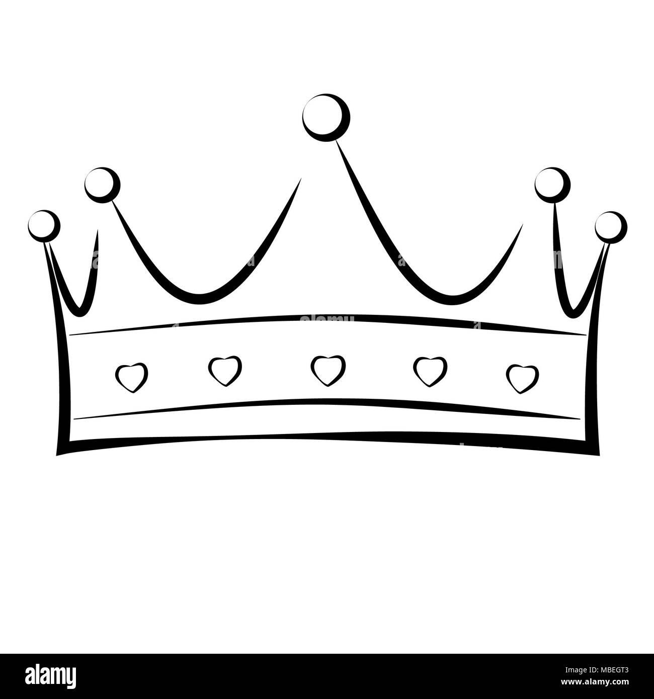 Dibujado A Mano Una Corona De Un Rey O Reina En Blanco Y Negro Foto