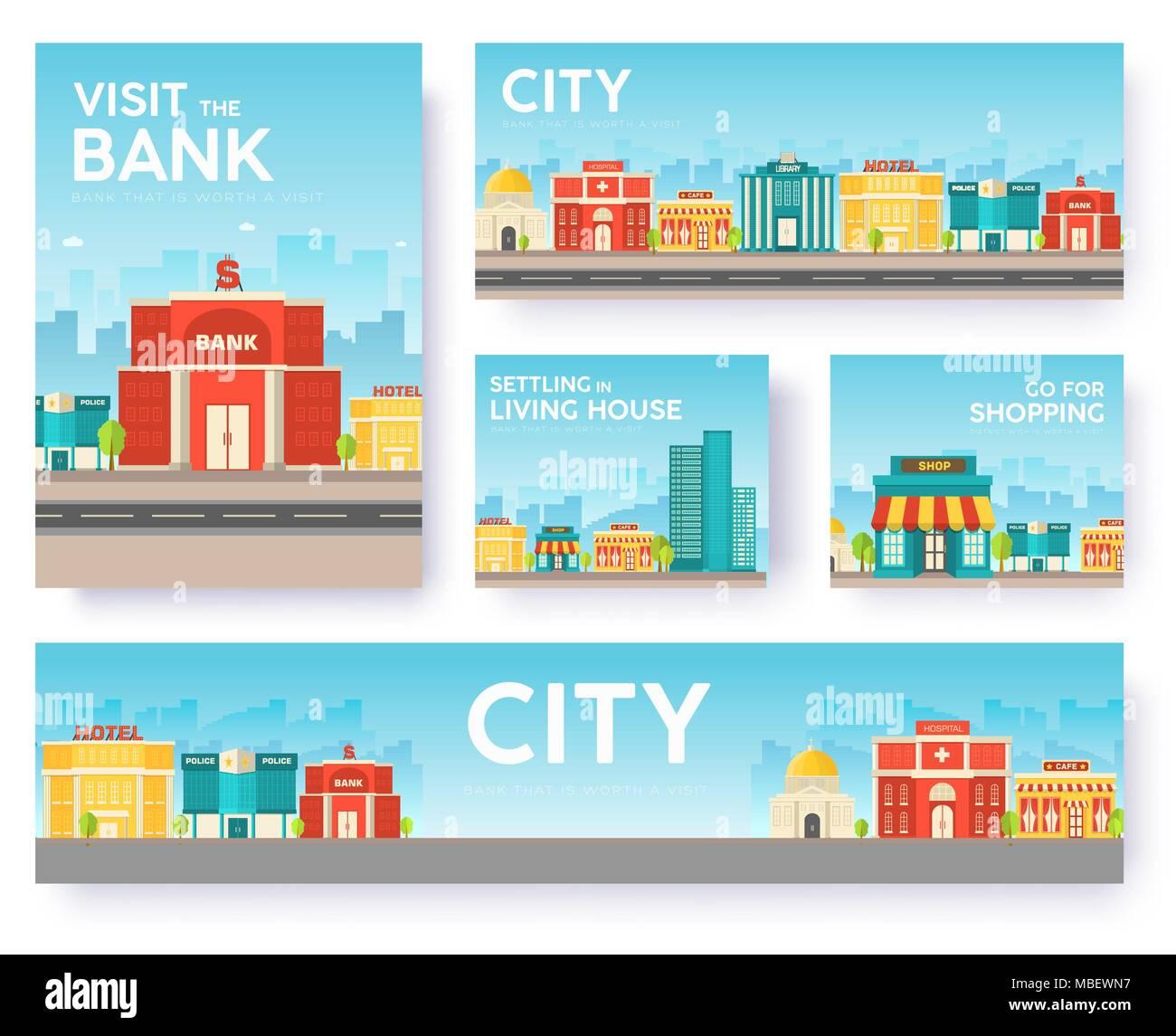 Edificio ciudad tarjetas de información. Arquitectura de plantilla ...