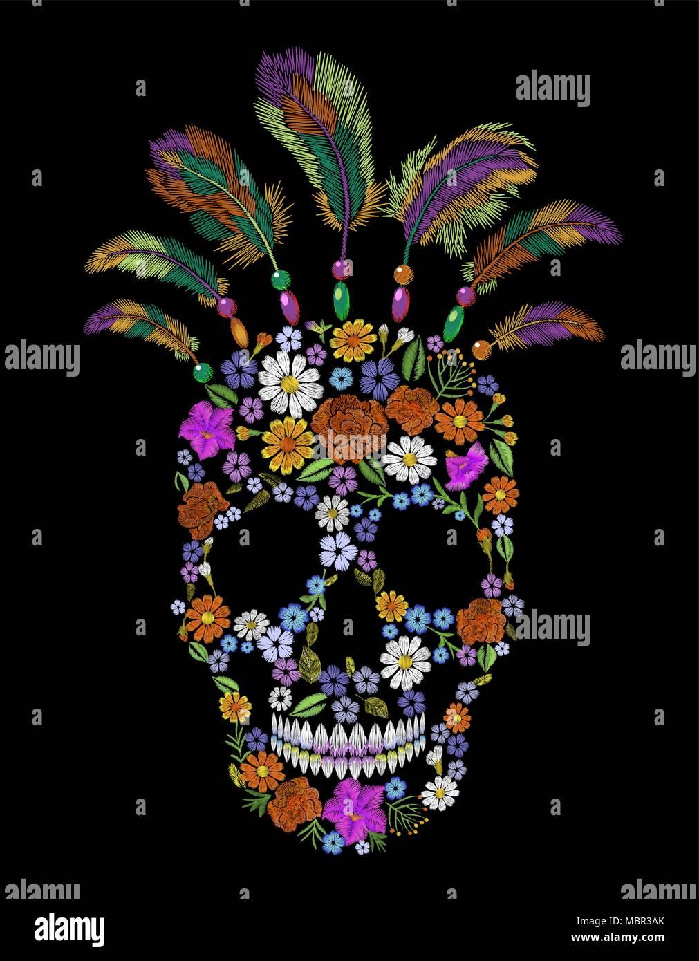 Bordados de flores de moda cráneo parche. Indios ornamento mexicana ...