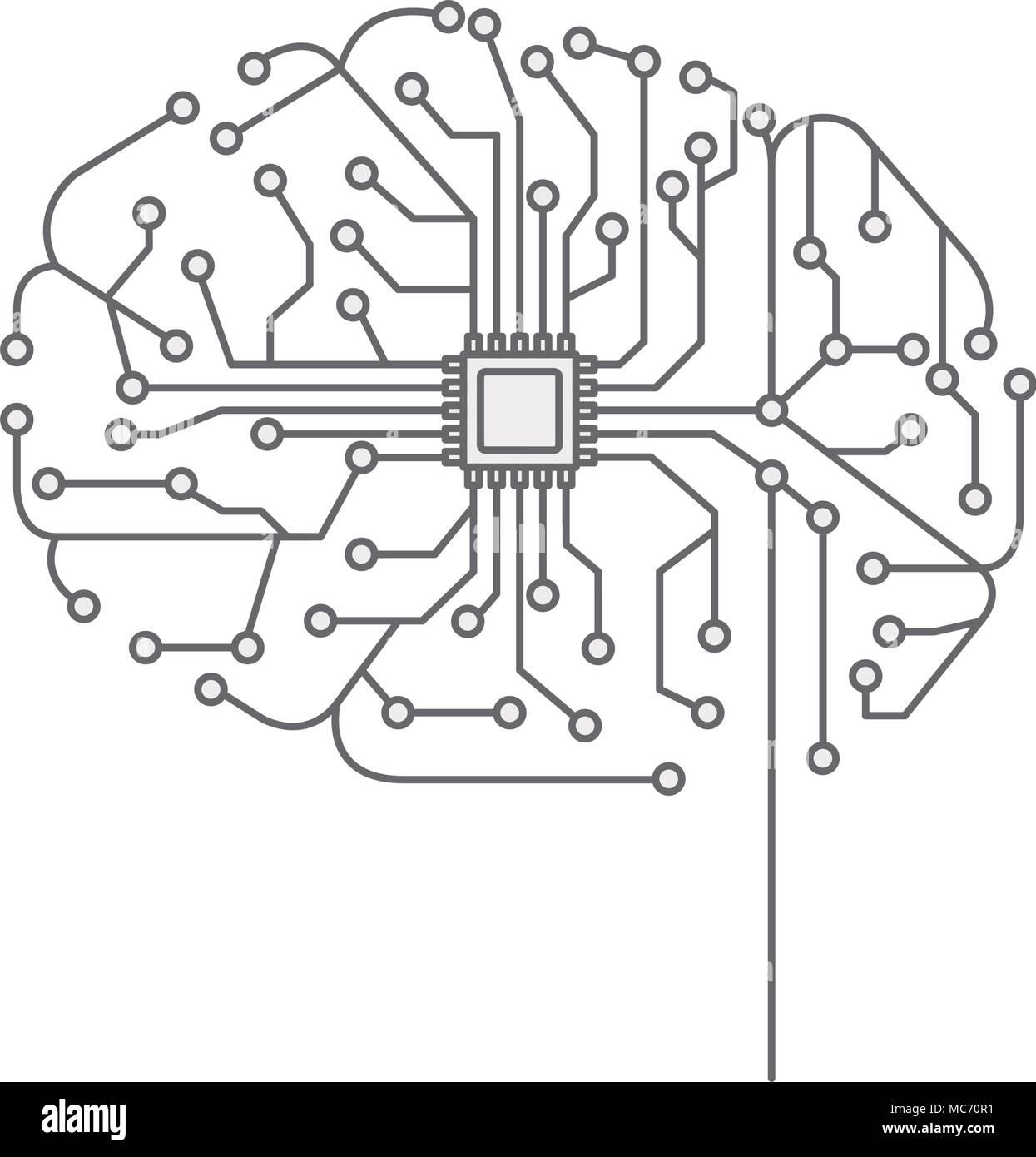 Circuito Electrico : Cerebro con el circuito eléctrico diseño de ilustraciones
