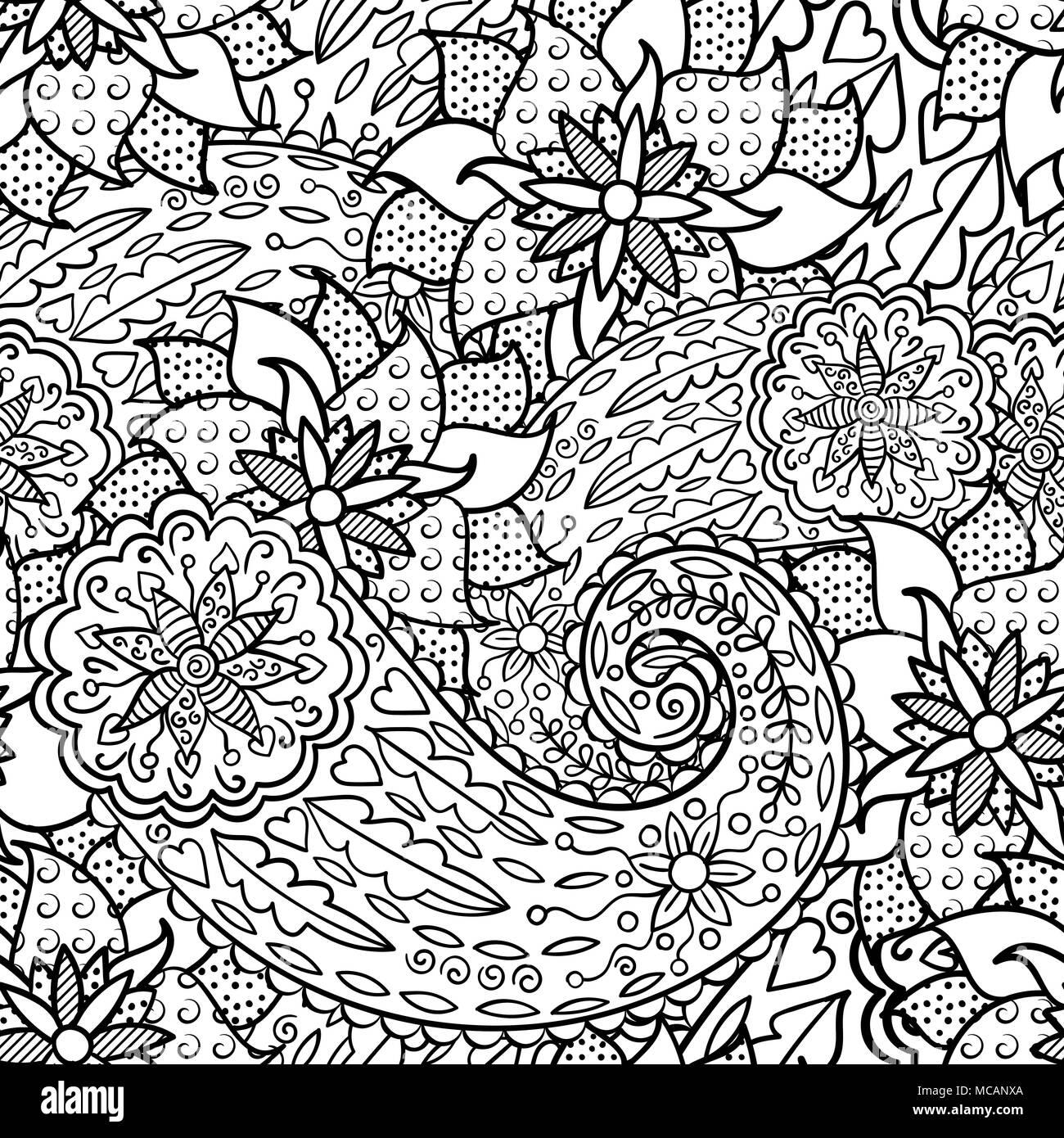 Dibujado a mano el patrón sin fisuras con hojas y flores. Garabatos ...