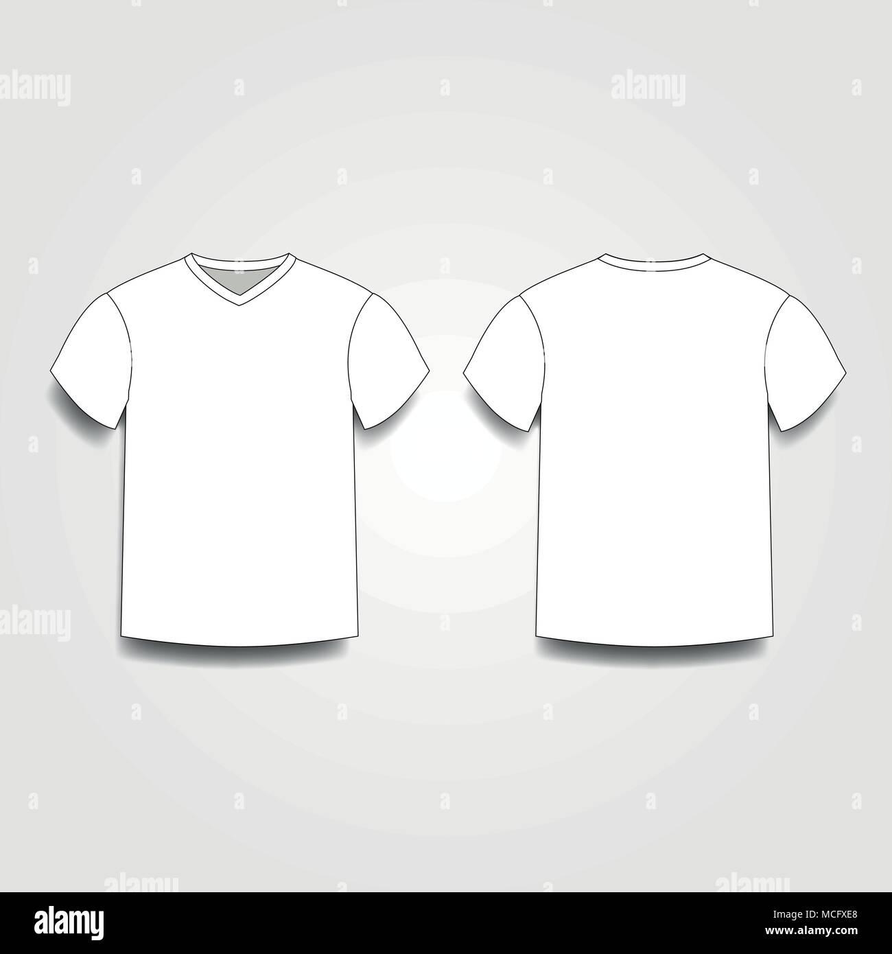 Los hombres blancos de plantilla camiseta con cuello en V en el ...