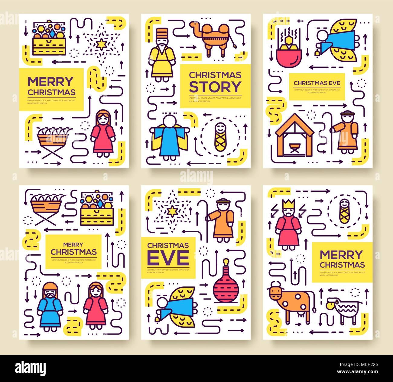 Feliz Navidad vector tarjetas folleto conjunto. El nacimiento de ...