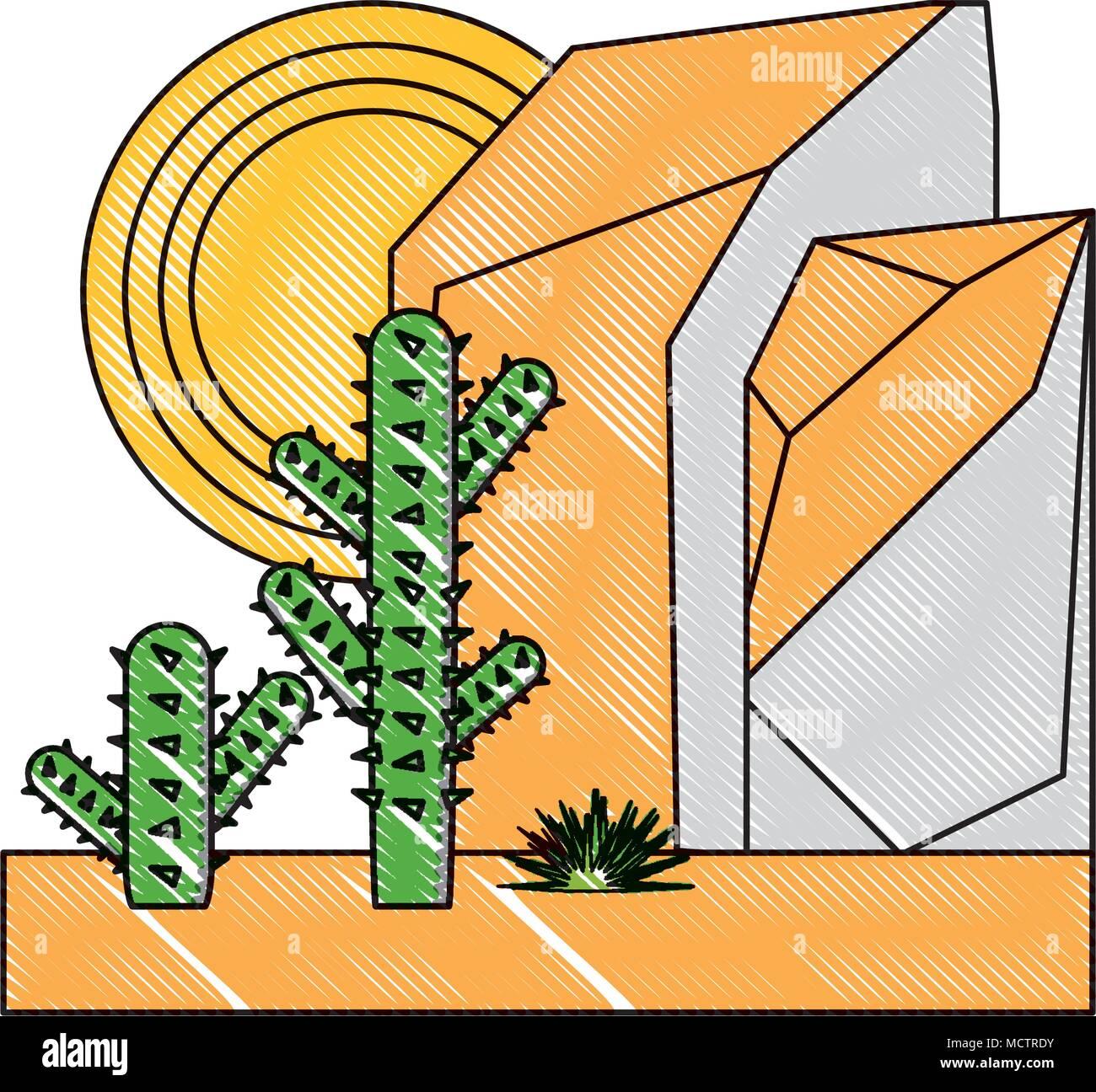 Resumen desierto paisaje con montañas rocosas y cactus icono sobre ...