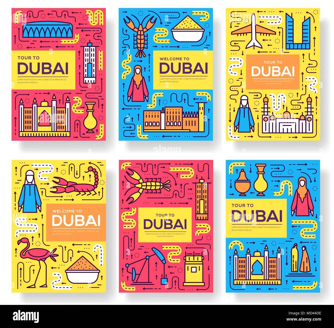 Dubai folleto vector tarjetas de línea delgada. País de flyear ...