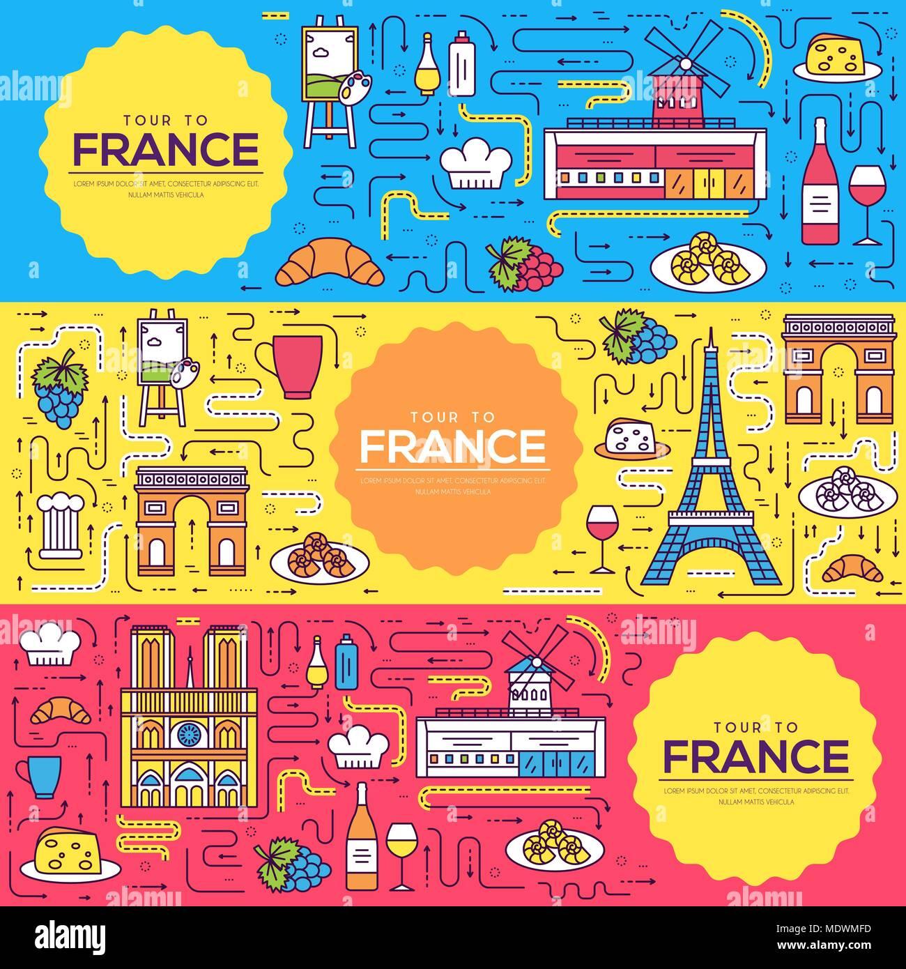 Francia vector tarjetas folleto línea delgada. Monumento Nacional ...