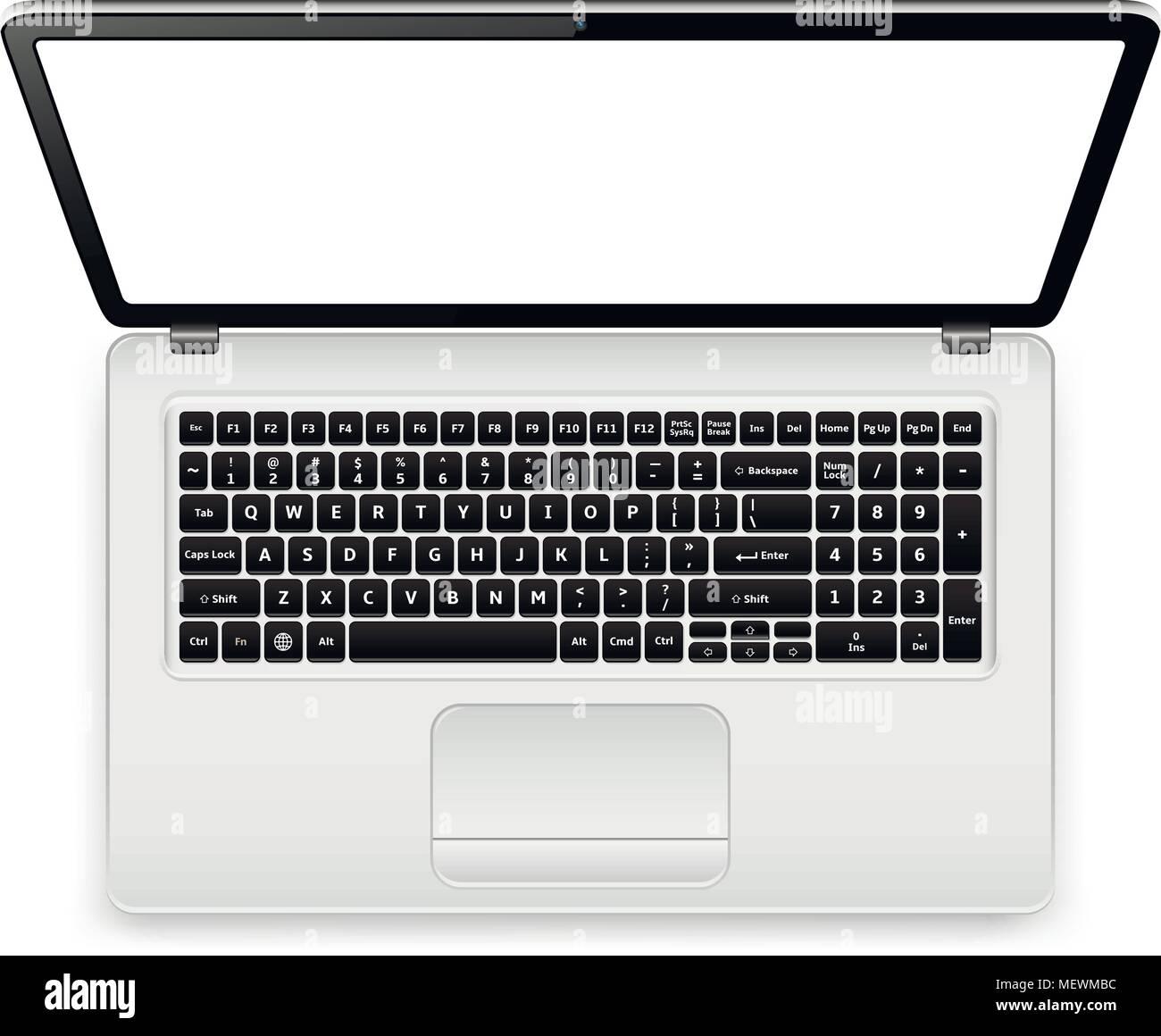 Vista superior del teclado de ordenador portátil con plantilla de ...