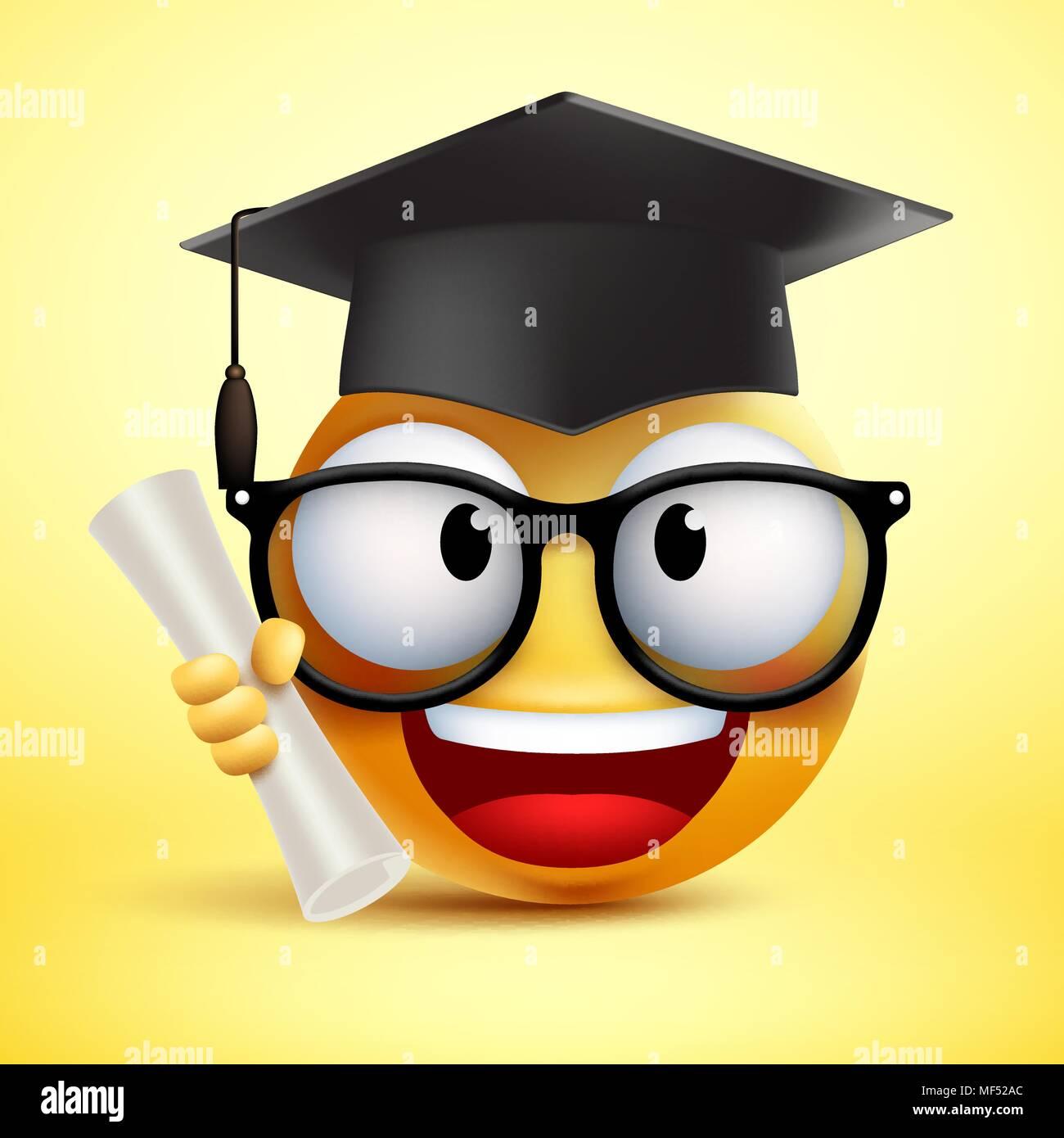 Smiley Emoticones vectoriales estudiante sonriente sosteniendo el diploma y  vistiendo un sombrero negro para la graduación en el fondo amarillo. 74ffc673688