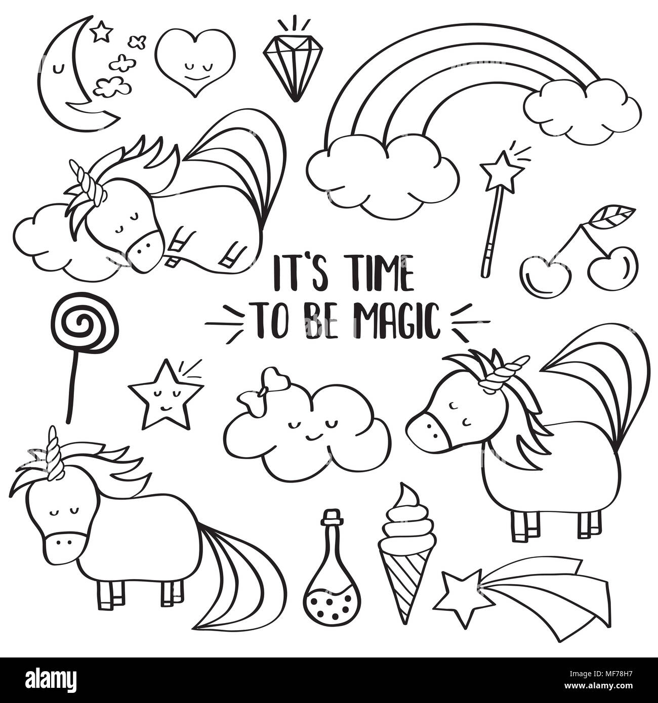 Dibujos De Unicornio Kawaii Para Colorear E Imprimir