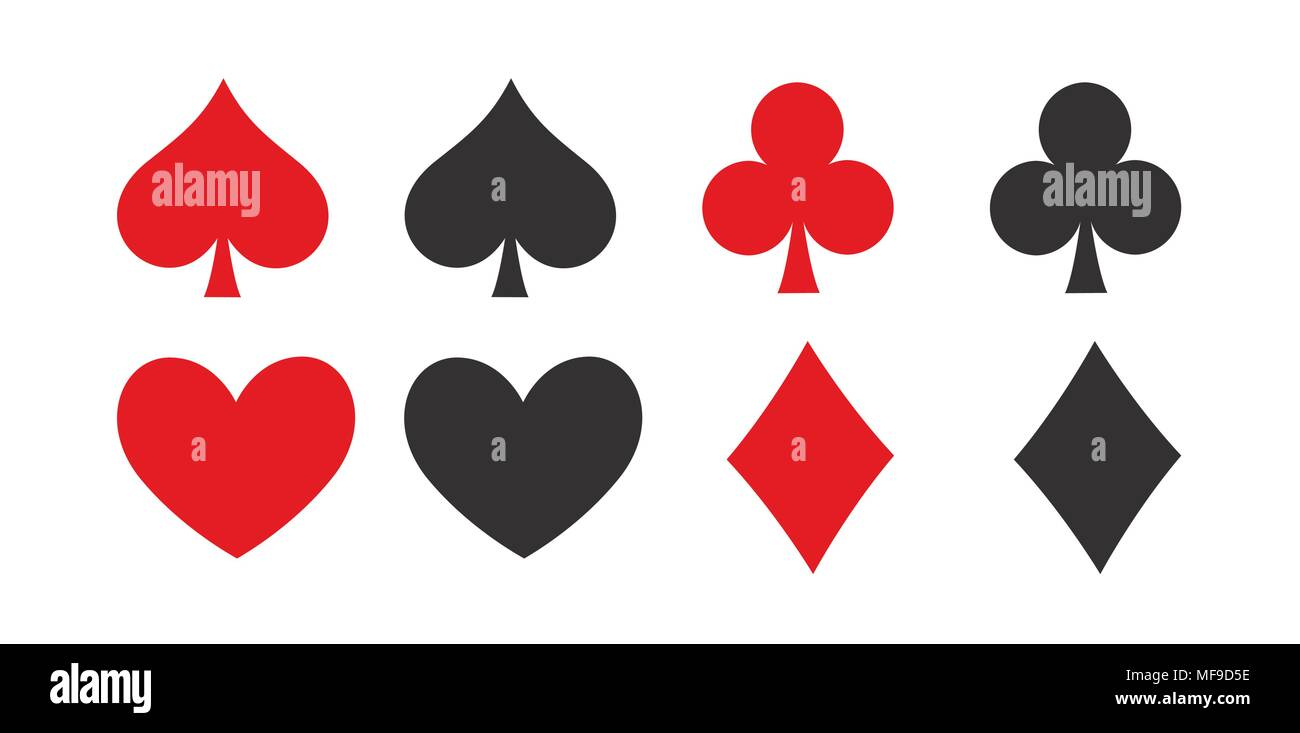 Símbolos De Naipes De Poker Con Los Iconos En Blanco Y Negro