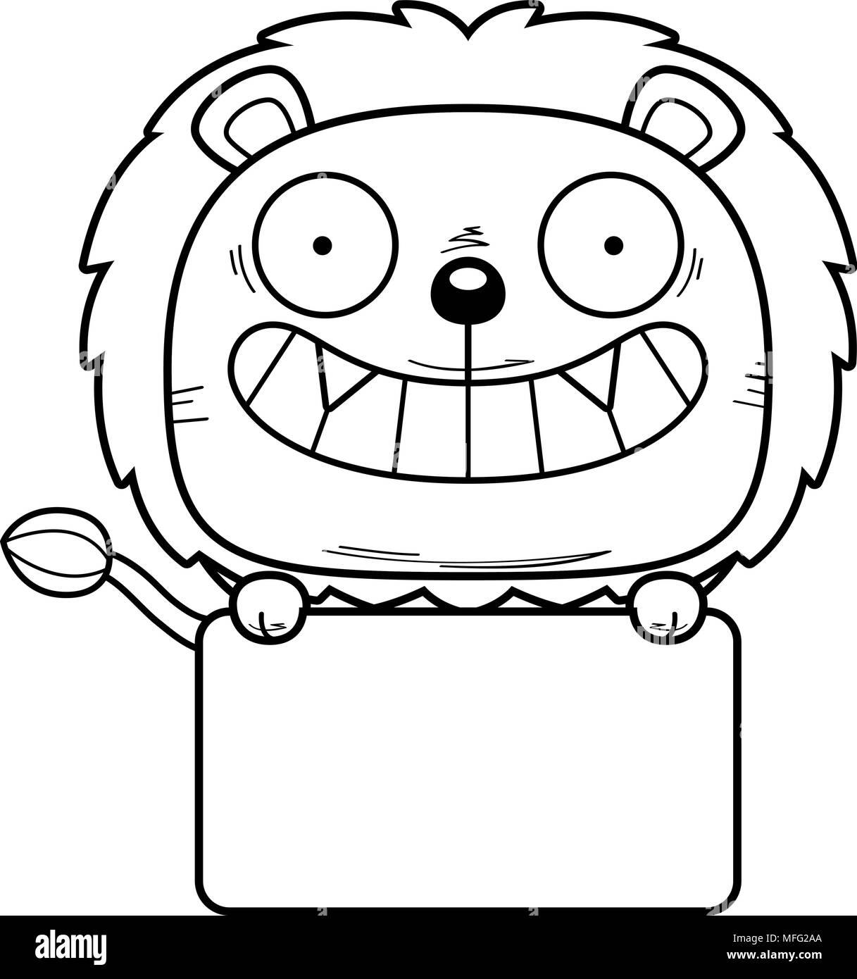 Una caricatura de la ilustración de un cachorro de león con un ...