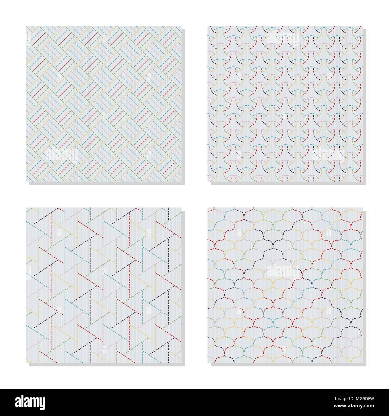 Cuatro motivos bordados de Asia. Adornos sashiko japonés. Serie ...