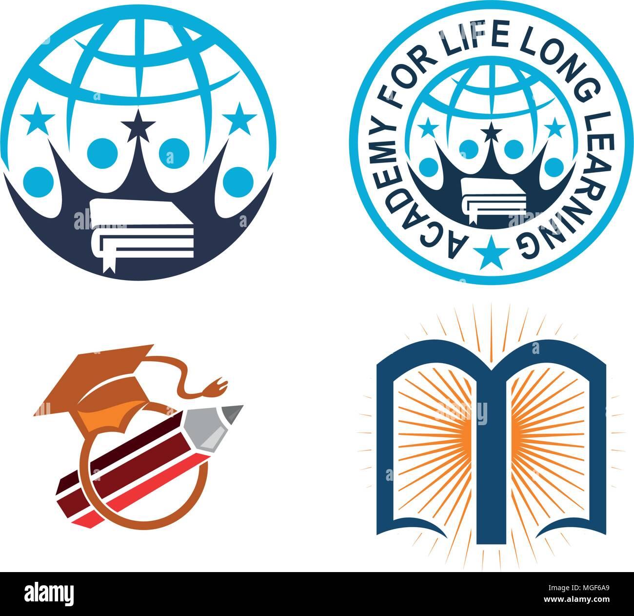 La educación mundial conjunto de plantillas Ilustración del Vector ...