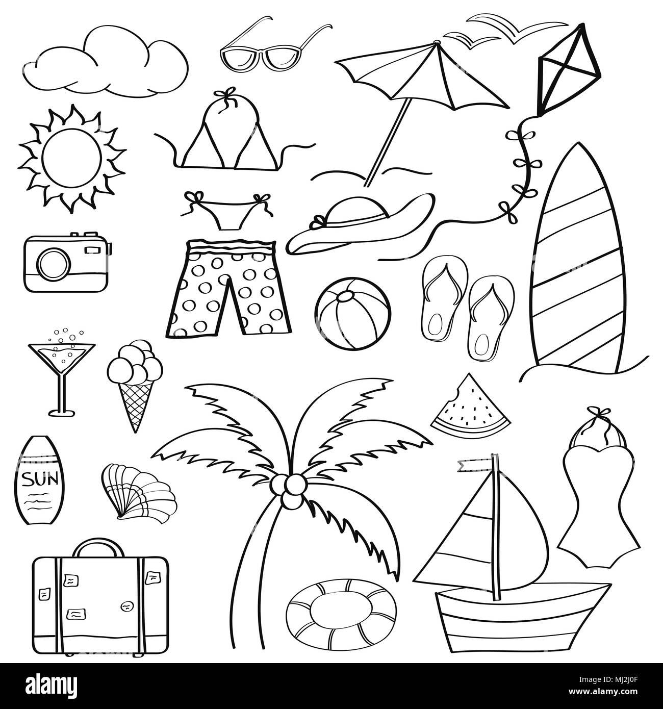 Doodle cartoon artículos colección de vacaciones de verano para ...