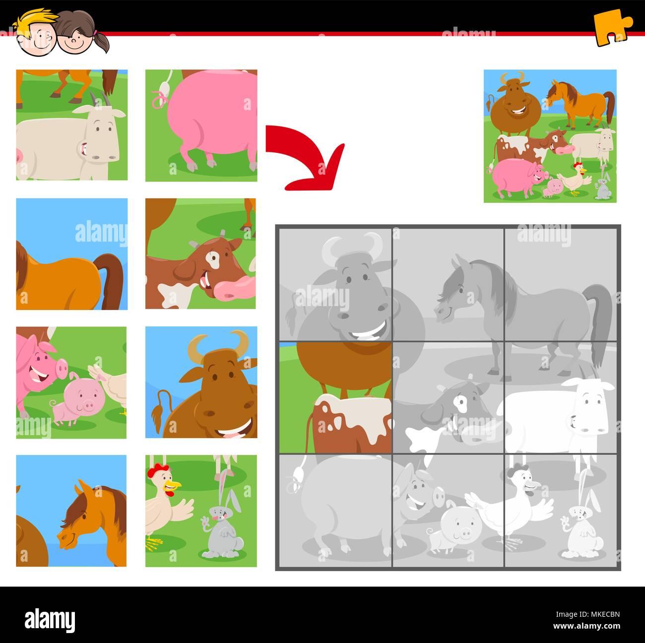 Ilustracion De Dibujos Animados Rompecabezas Juego Actividad