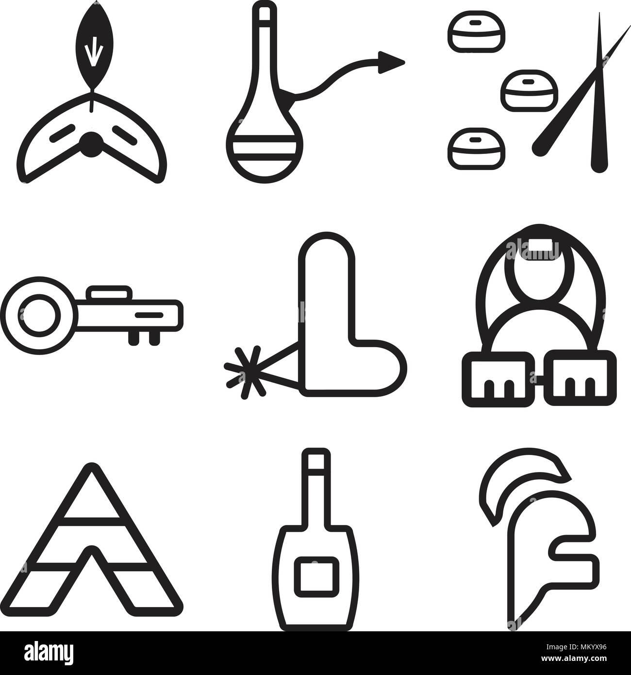 Conjunto de 9 sencillos iconos editables como casco 13ebf7c4881