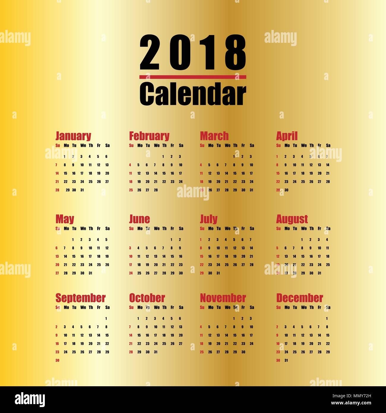 Plantilla vectorial de 2018 nuevo año calendario en Limpiar tabla mínima de  estilo simple de color negro y oro rojo 77d4cd7cb29c5