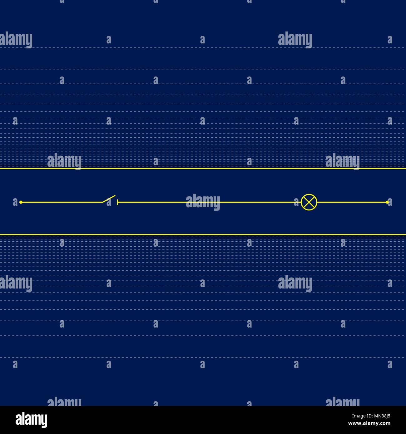 Circuito Lineal : Circuito lineal del circuito eléctrico sobre fondo oscuro