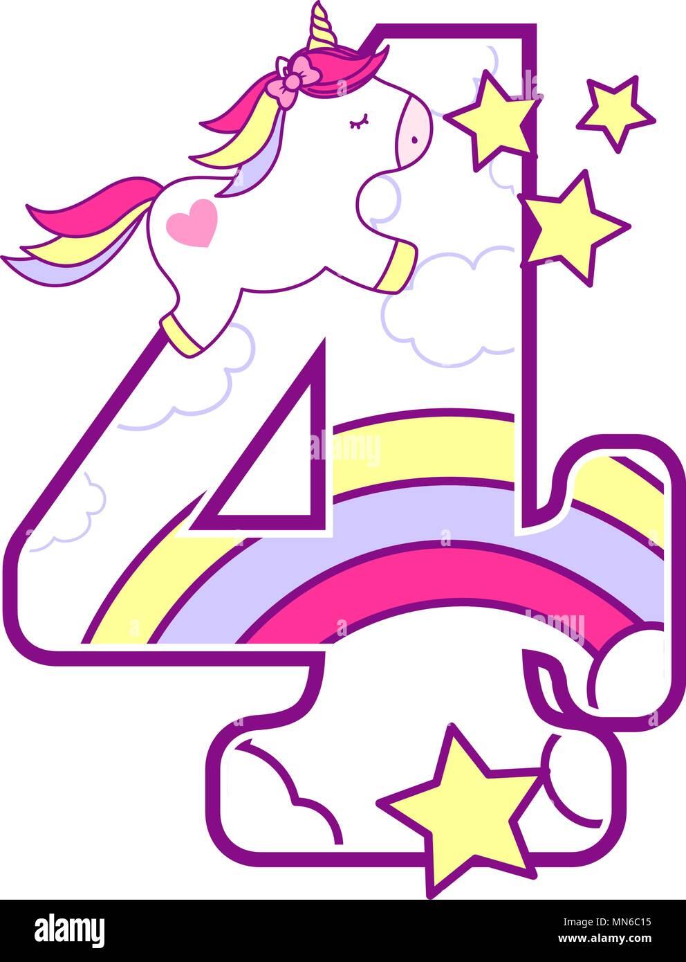 número 4 con lindo unicornio y rainbow puede ser utilizado para el