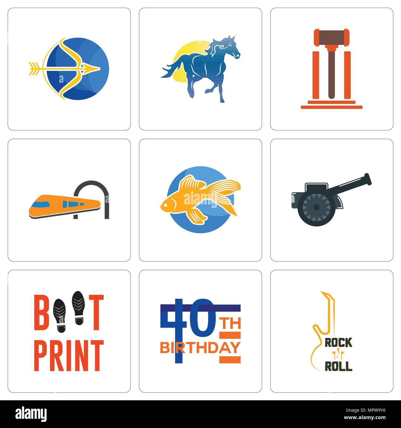 Conjunto De 9 Sencillos Iconos Editables Como Rock N Roll 40
