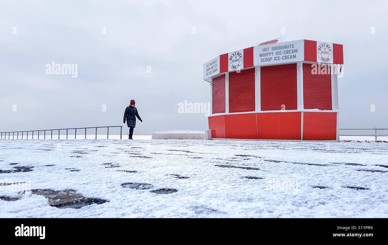 Caminata por la mañana en invierno Imagen De Stock