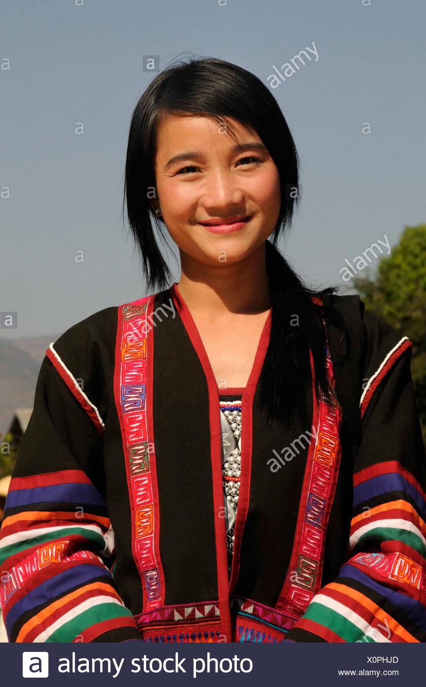 Sudeste Asia étnica Asiático minoría traje en tradicional Mujer una de Birmania Myanmar zqtcPg
