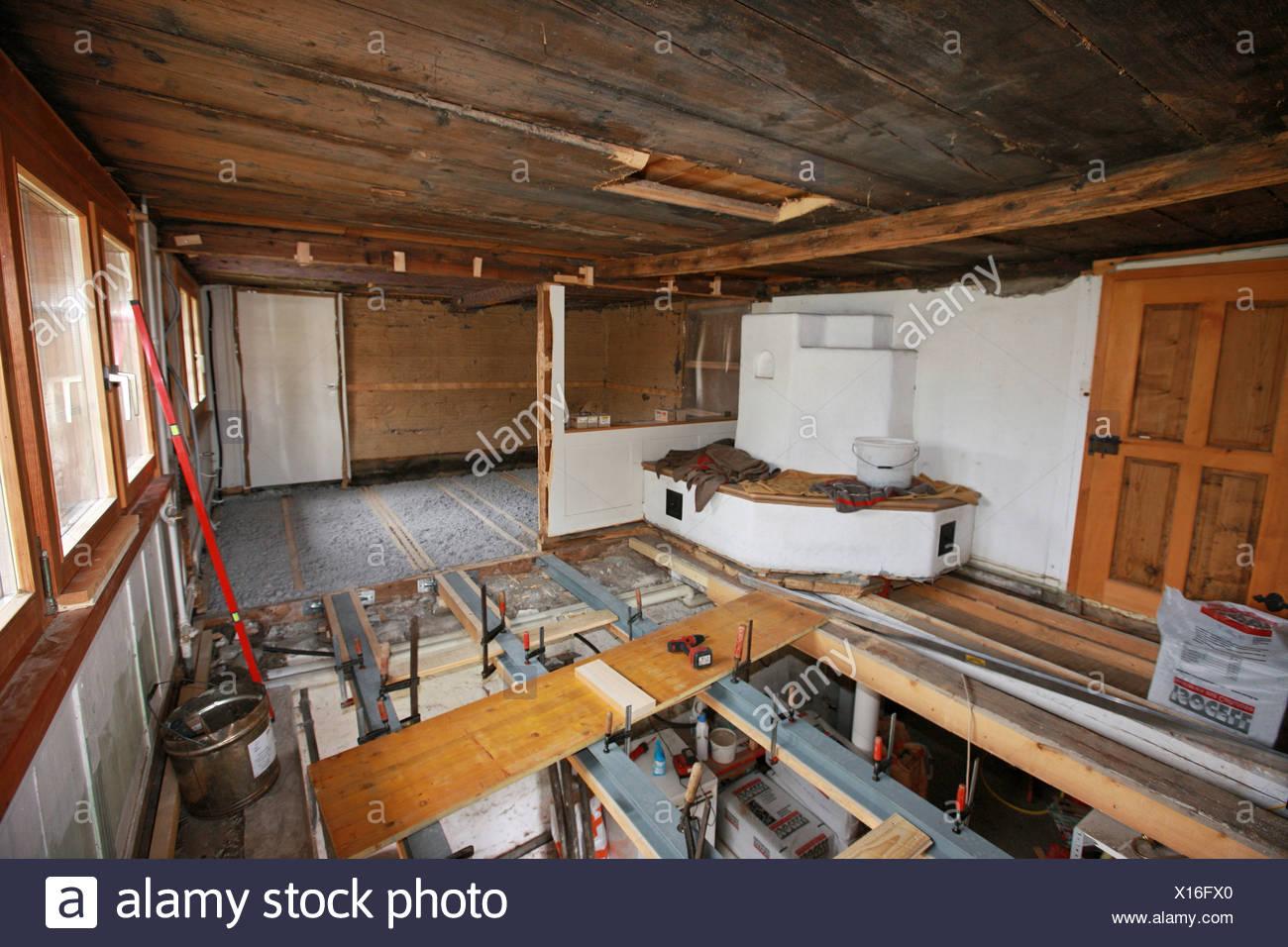 Suiza Europa Dentro De Suelos Interiores De Madera Antigua Casa