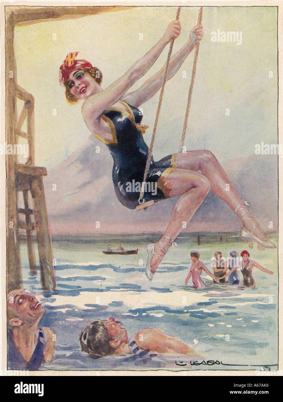 Balançant par la mer Photo Stock