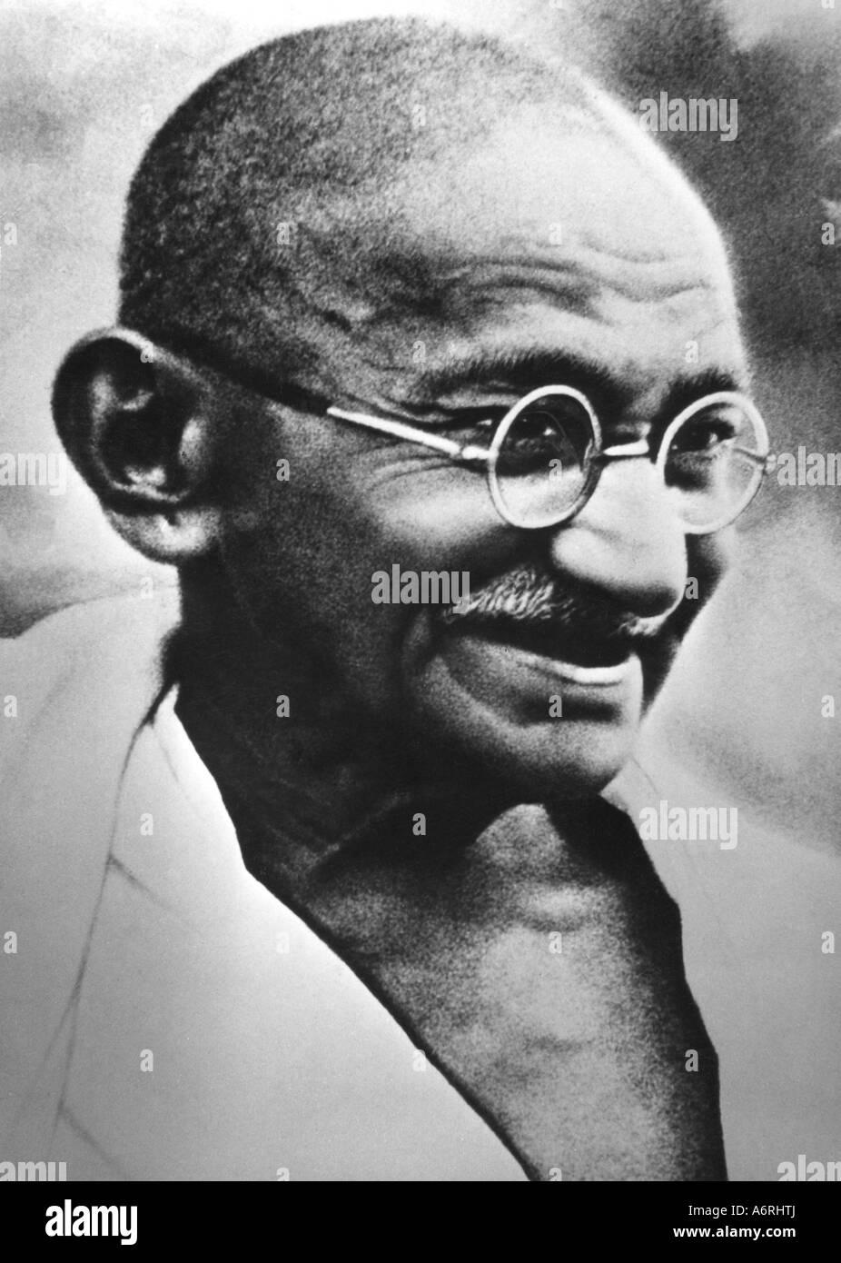 Gandhi, Mohandas Karamchand, appelé le Mahatma, 2.10.1869 - 30.1.1948, homme politique indien, portrait, vers Photo Stock