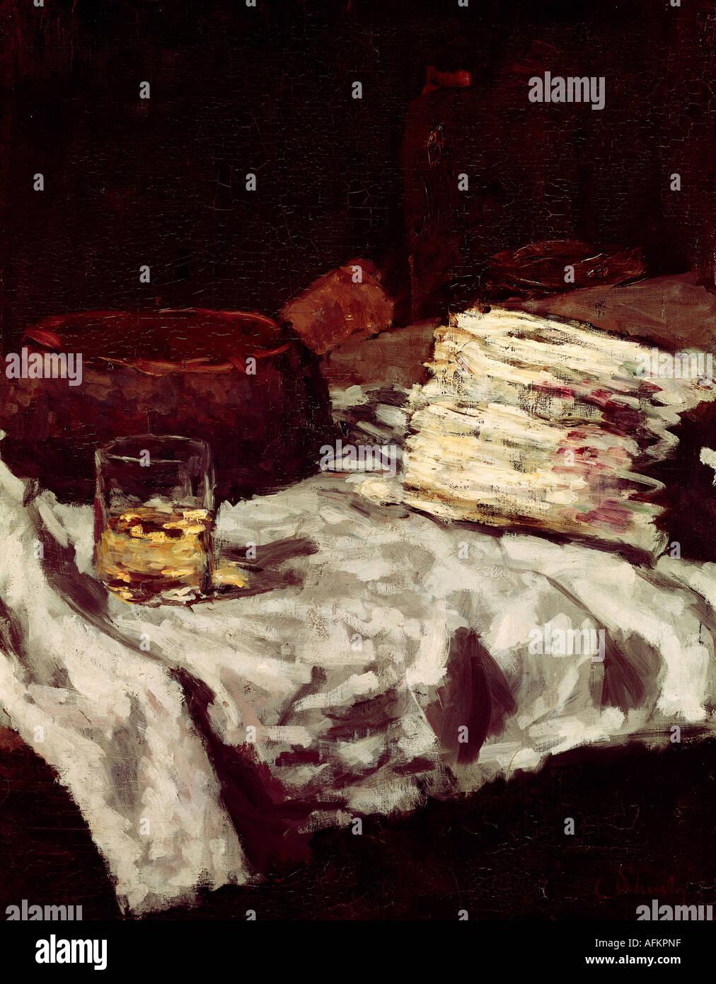 'Fine Arts, Schuch, Carl, (30.9.1846 - 13.9.1903), peinture, 'tillleben mit Spargel', vers 1885, huile Photo Stock