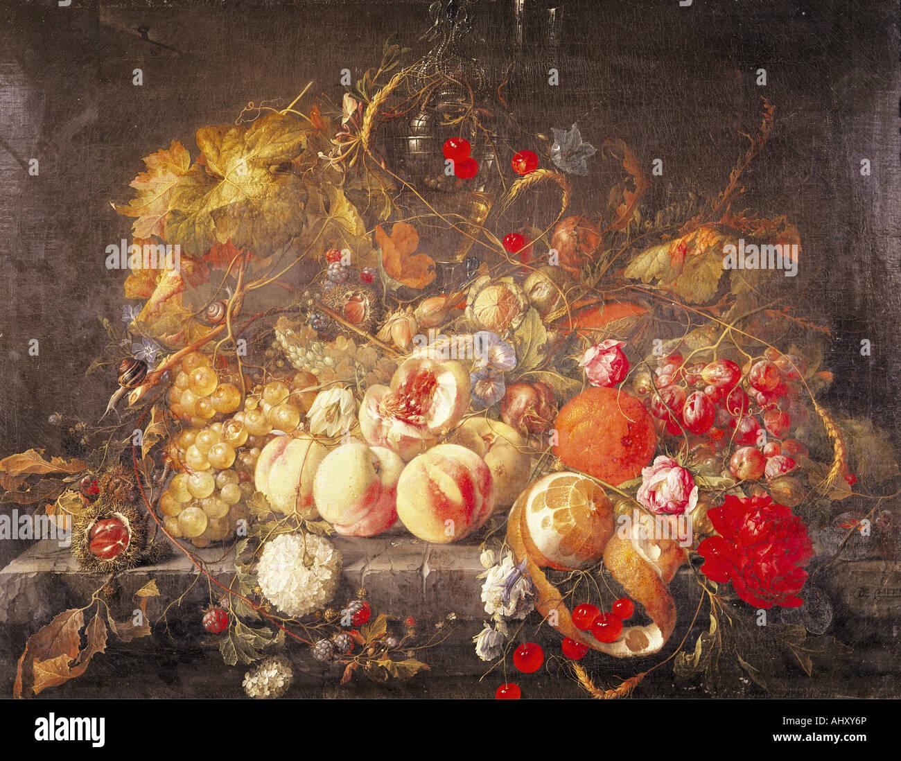 'Fine Arts, Heem, Jan Davidsz de, (1606 - 1684), peinture, 'Still life', huile sur panneau, 55,8 cm Photo Stock