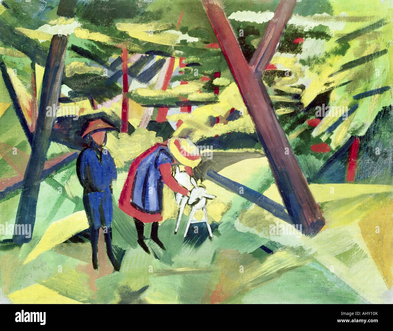 'Fine Arts, Macke, August, (1887 - 1914), peinture, 'Kinder mit Ziege im Wald', ('les enfants avec Photo Stock