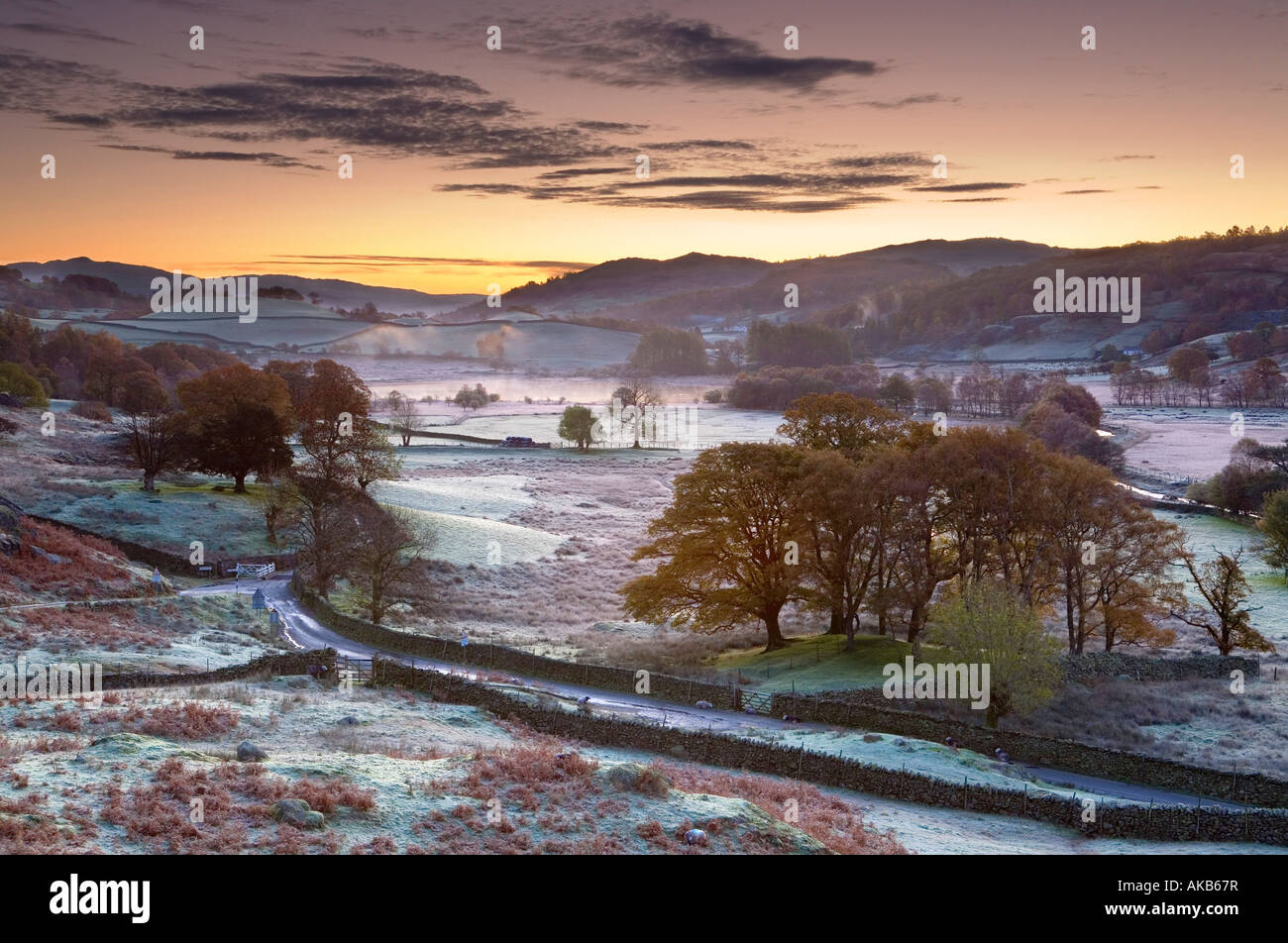 Frosty matin, peu de Langdale, Lake District, Cumbria, Angleterre Photo Stock