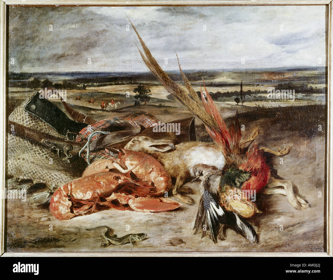 'Fine Arts, Delacroix, Eugène (1798 - 1863), peinture, 'Still Life' avec les homards, 1826/1827, Photo Stock