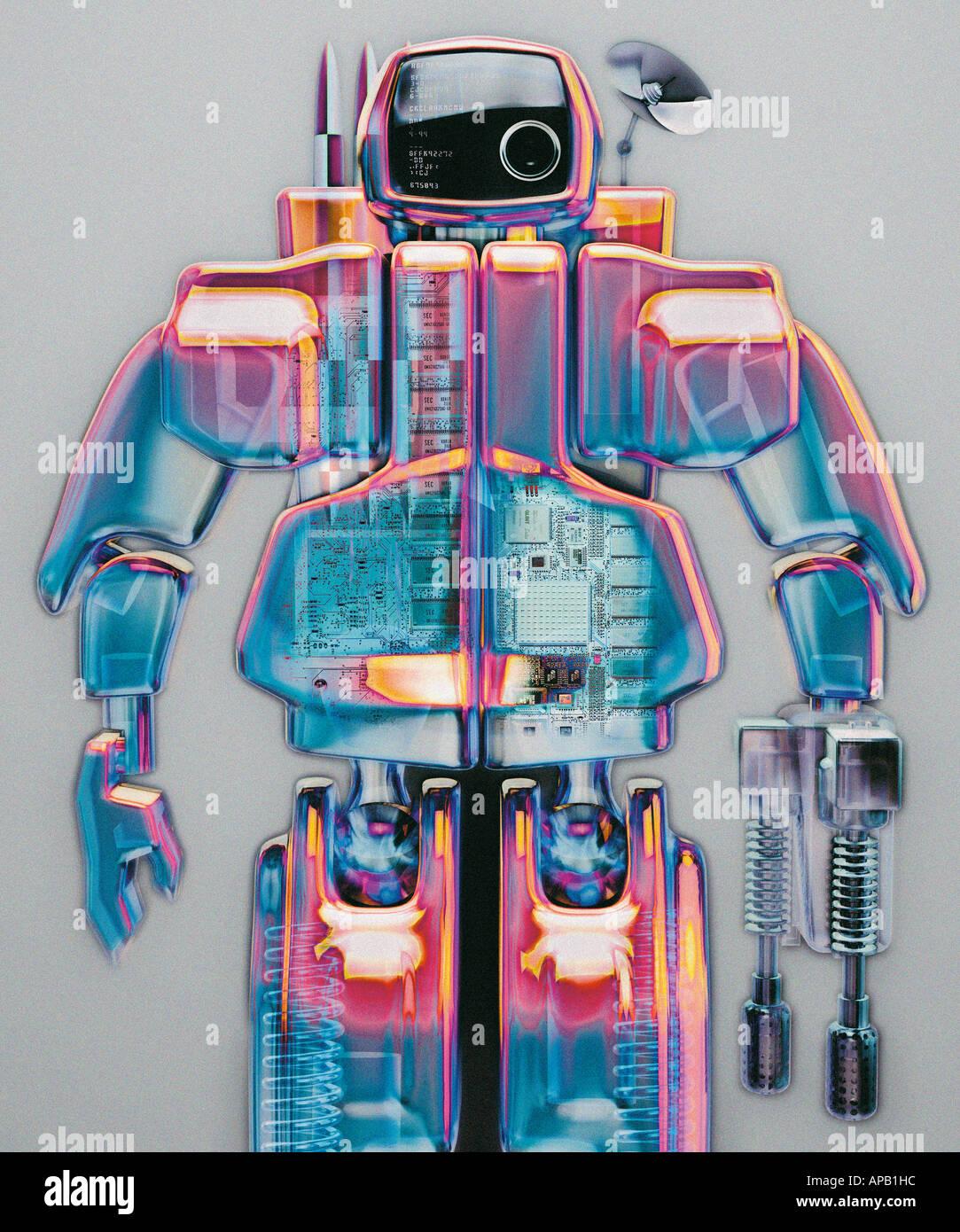 Image générée par ordinateur d'un robot bleu et rose Photo Stock