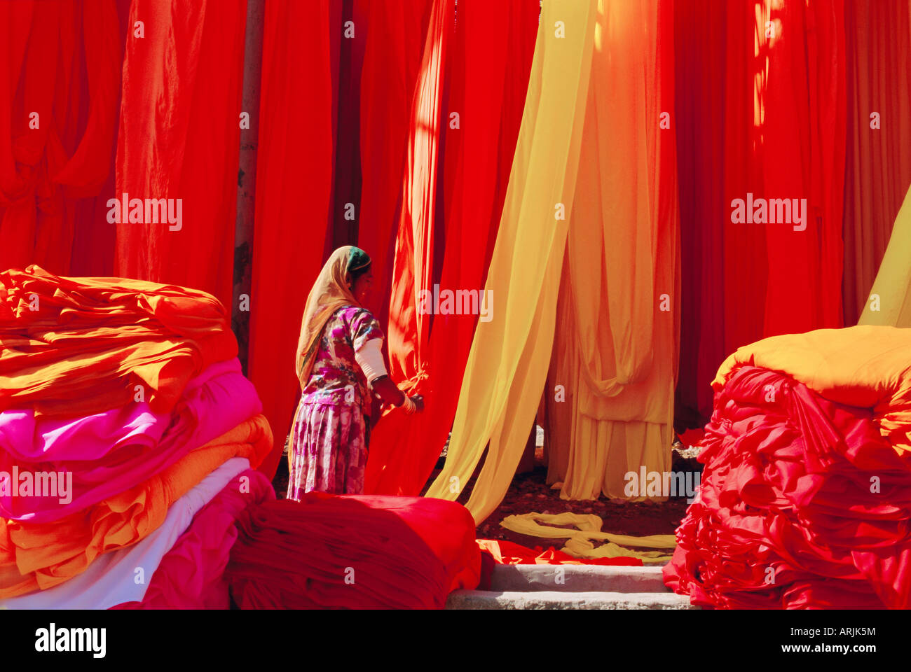 Sari garment factory, Rajasthan, Inde Photo Stock