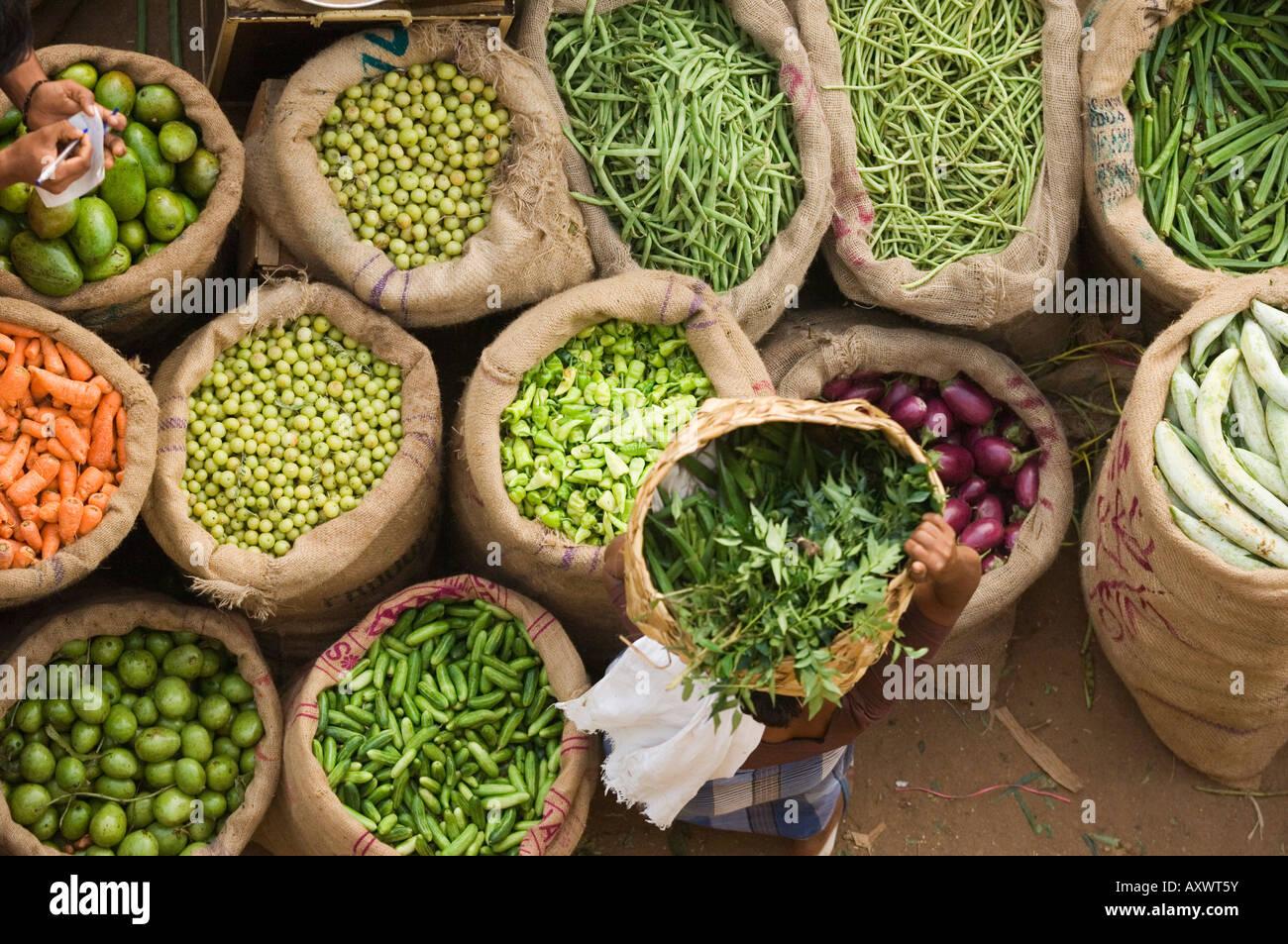 Marché, Trivandrum, Kerala, Inde Photo Stock