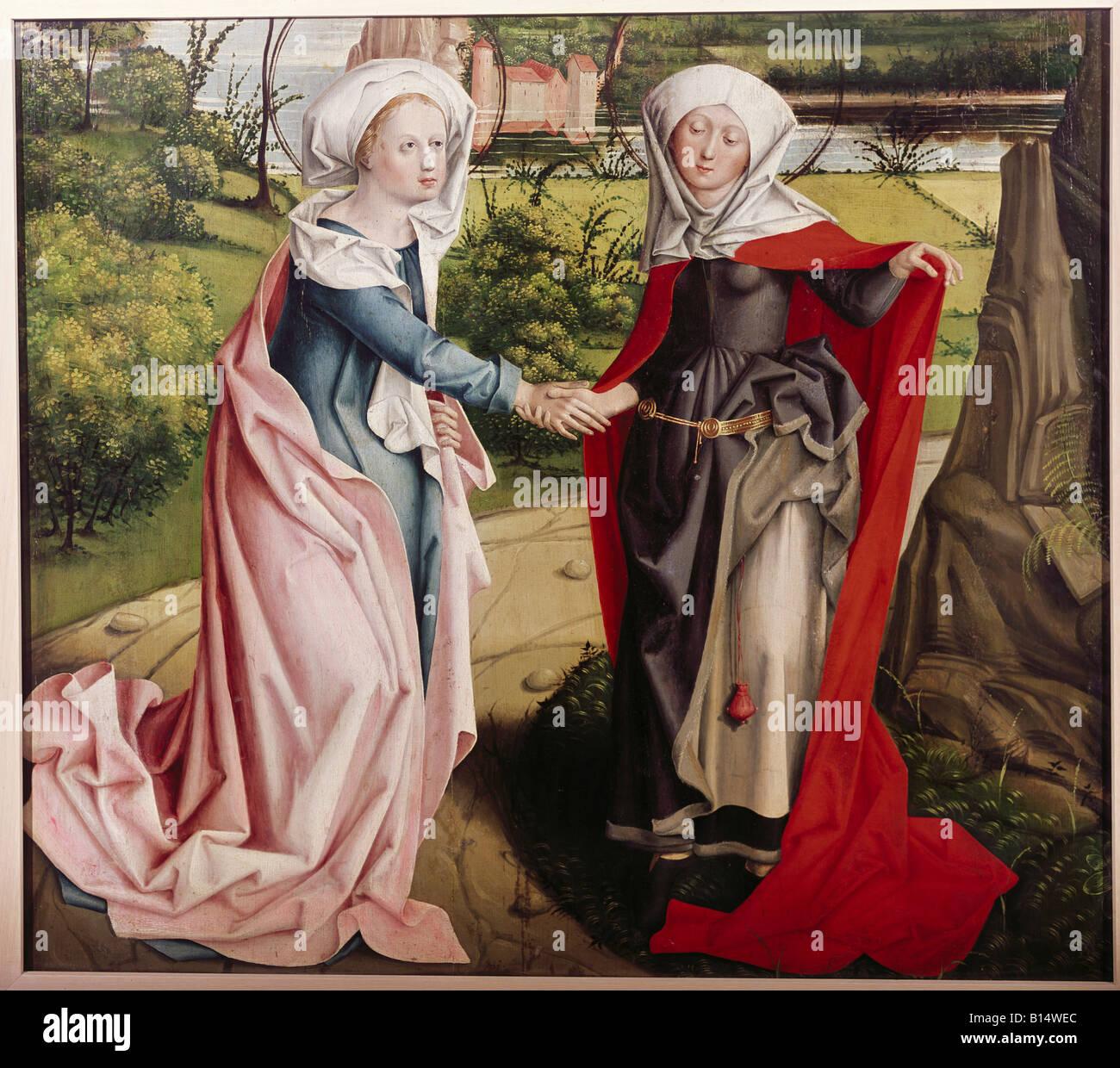 Beaux-arts, art religieux, peinture, Vierge Marie, de la visite d'Elizabeth, peinture, maître de la Visitation Photo Stock