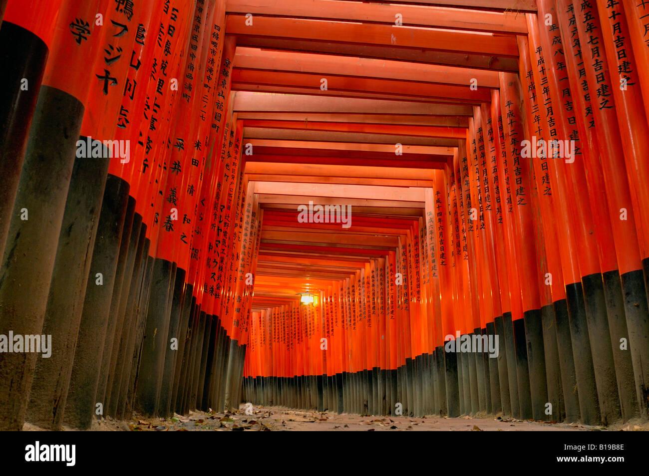 Torii gates Fushimi Inari Taisha Japon Honshu Kyoto Photo Stock